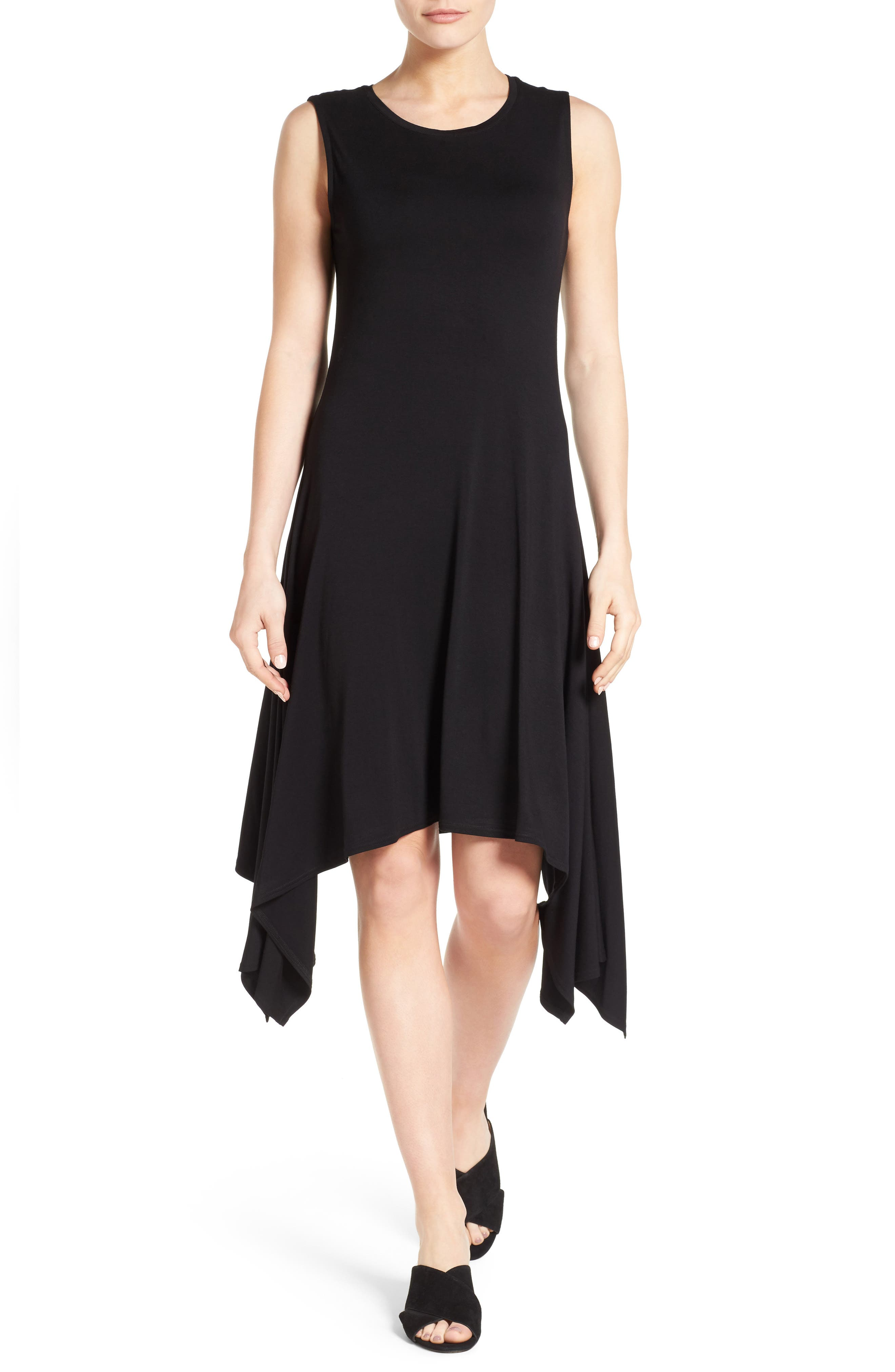 Stretch Knit Shift Dress,                             Main thumbnail 1, color,                             RICH BLACK