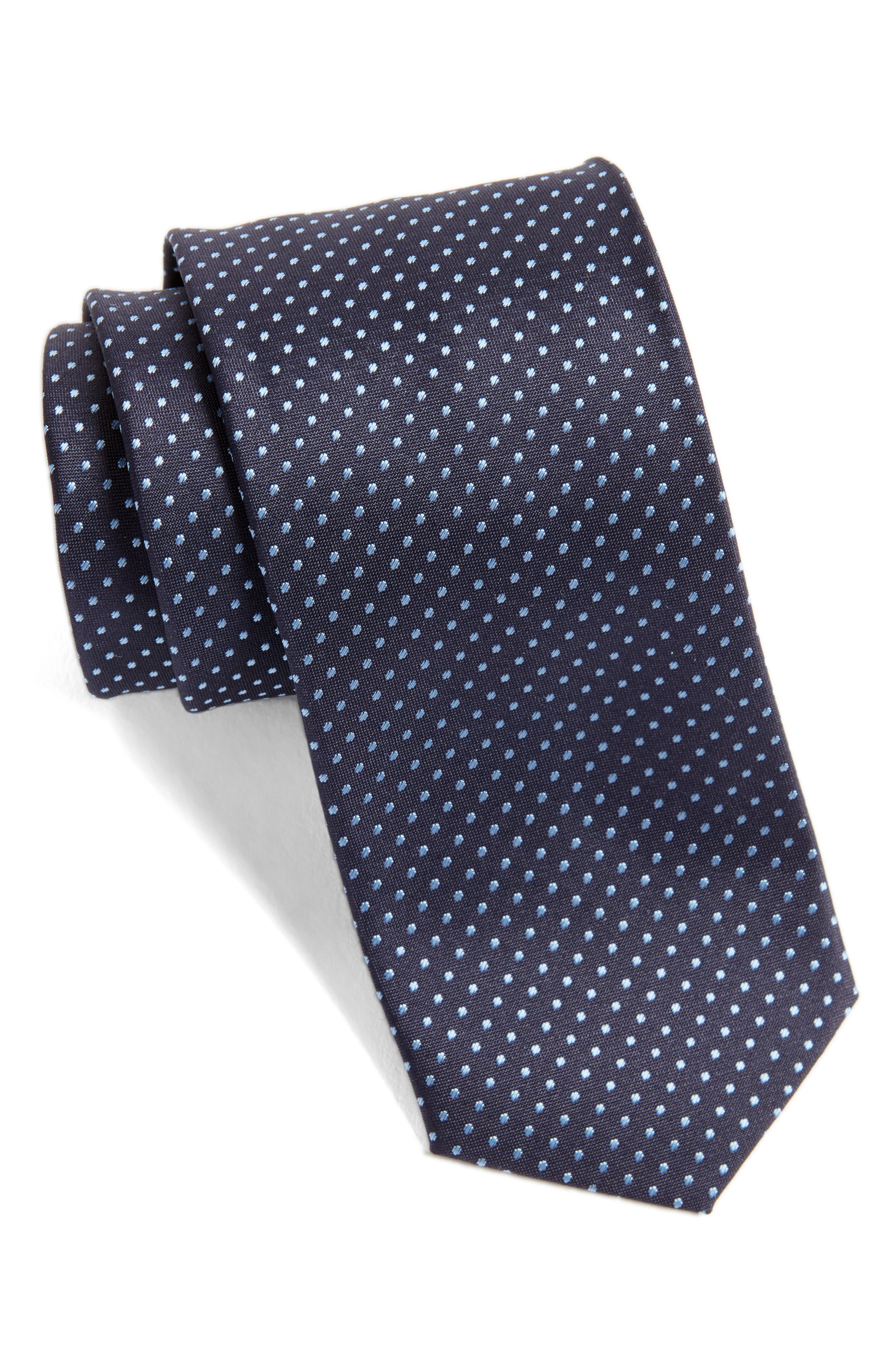 Dot Silk Skinny Tie,                             Main thumbnail 1, color,                             439