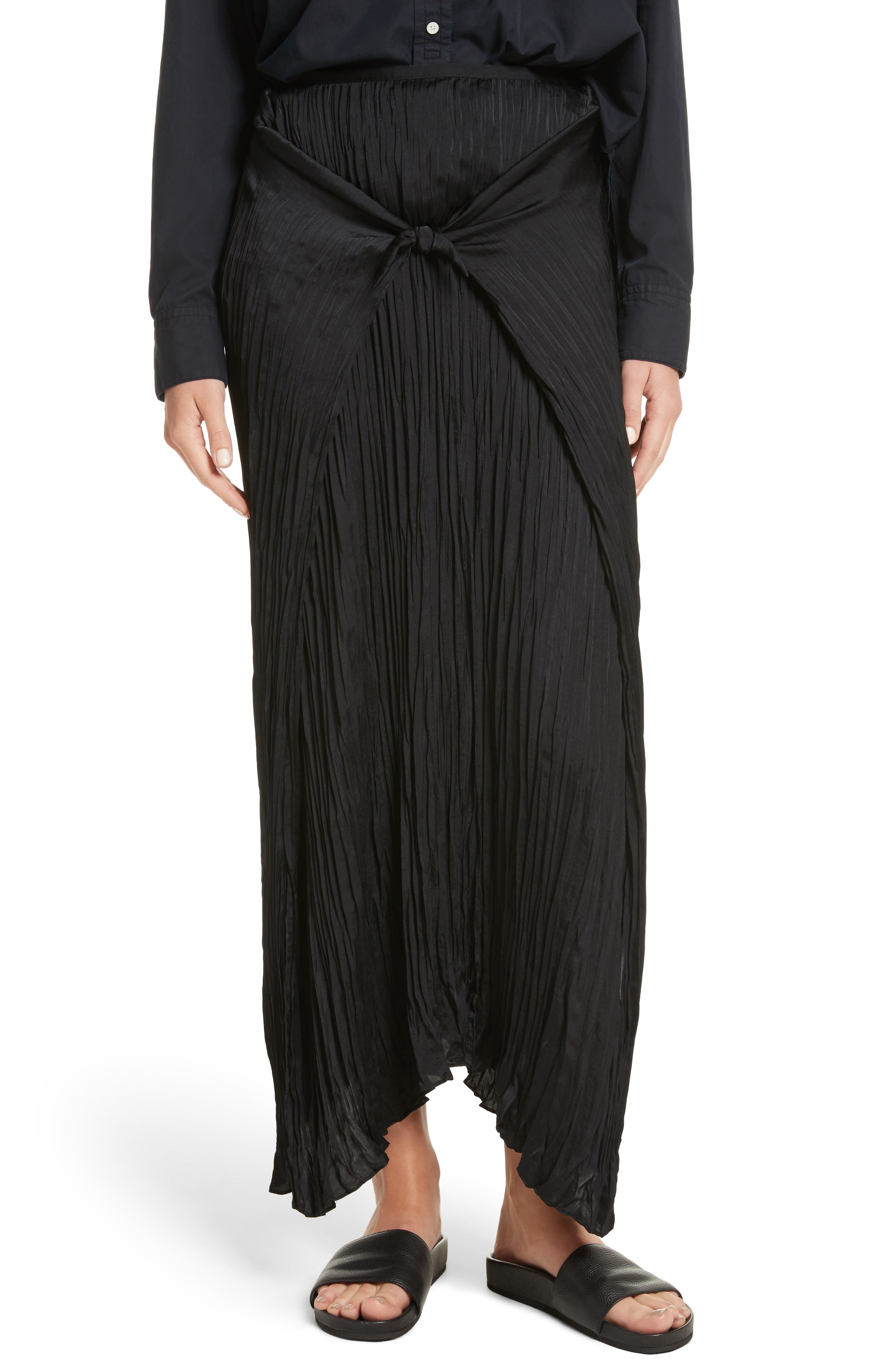 Pleated Tie Front Midi Skirt,                             Alternate thumbnail 4, color,                             001