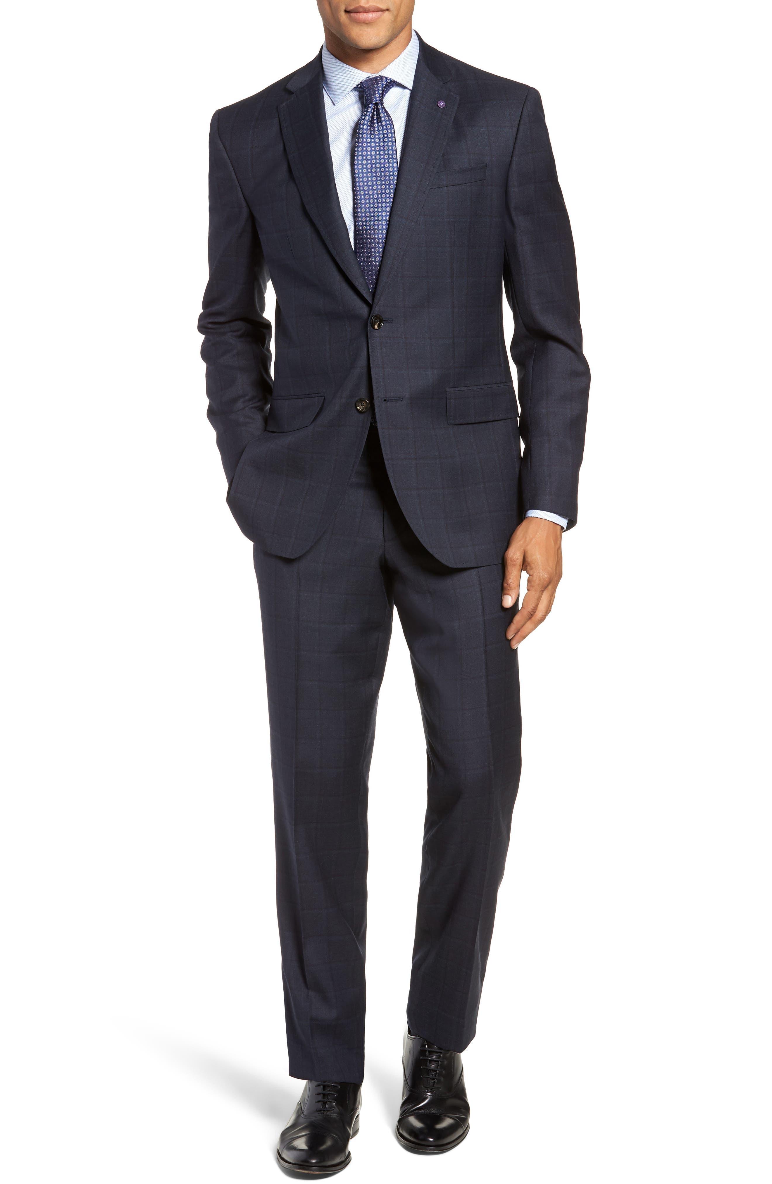 Jay Trim Fit Plaid Wool Suit,                         Main,                         color, BLUE