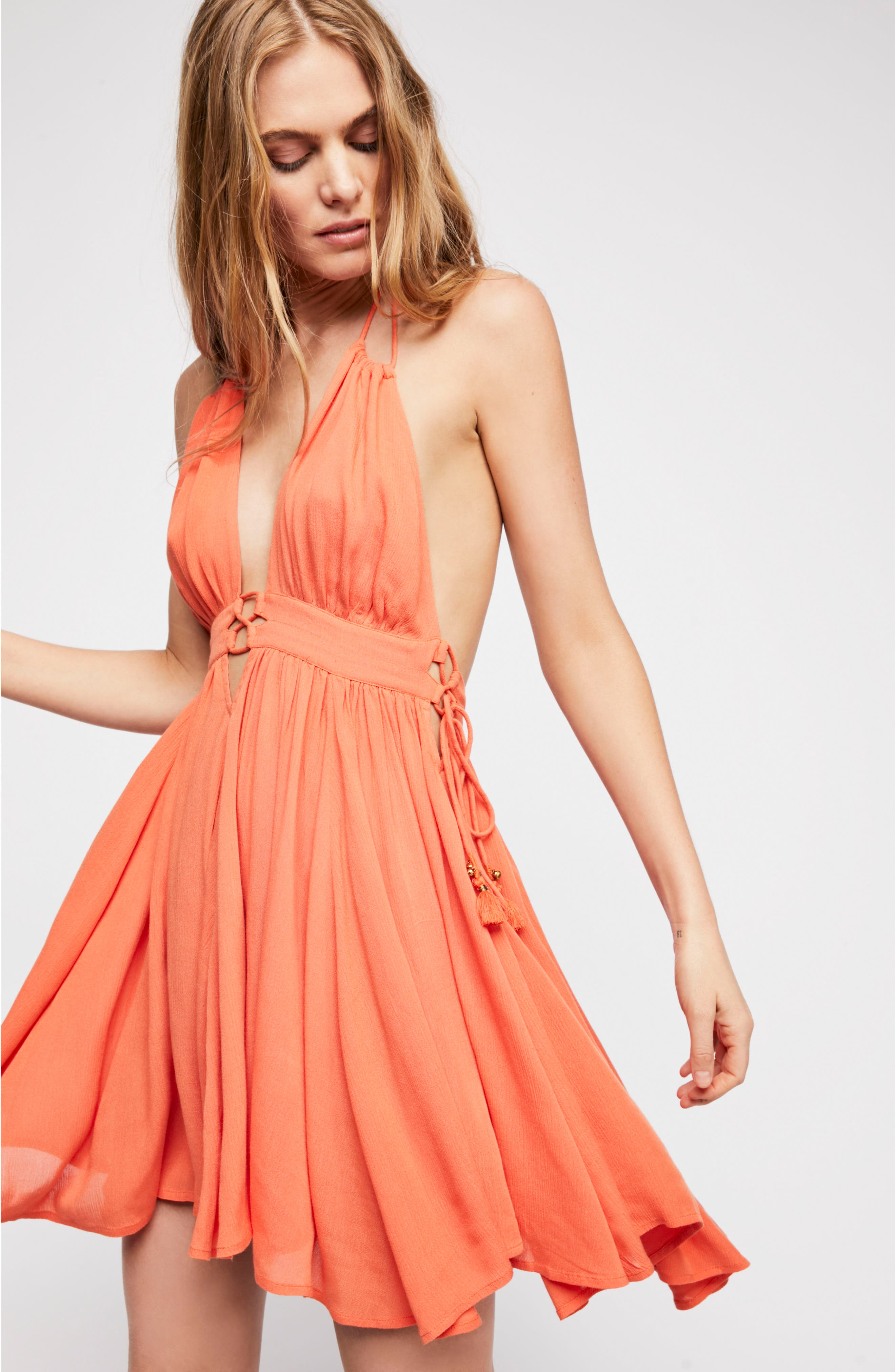 Endless Summer by Free People Electric Feelin' Dress,                             Alternate thumbnail 4, color,                             PAPAYA