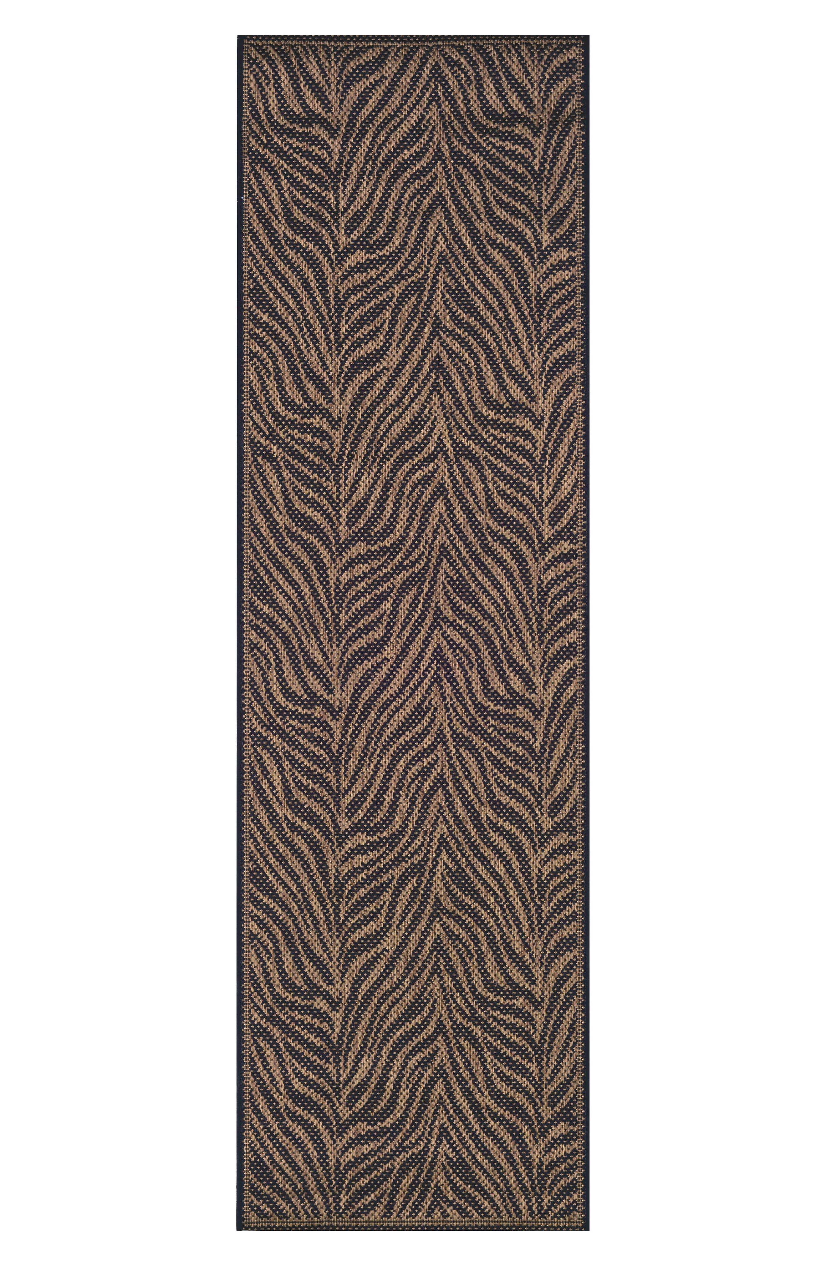 Recife Zebra Indoor/Outdoor Rug,                             Alternate thumbnail 3, color,                             BLACK/ COCOA