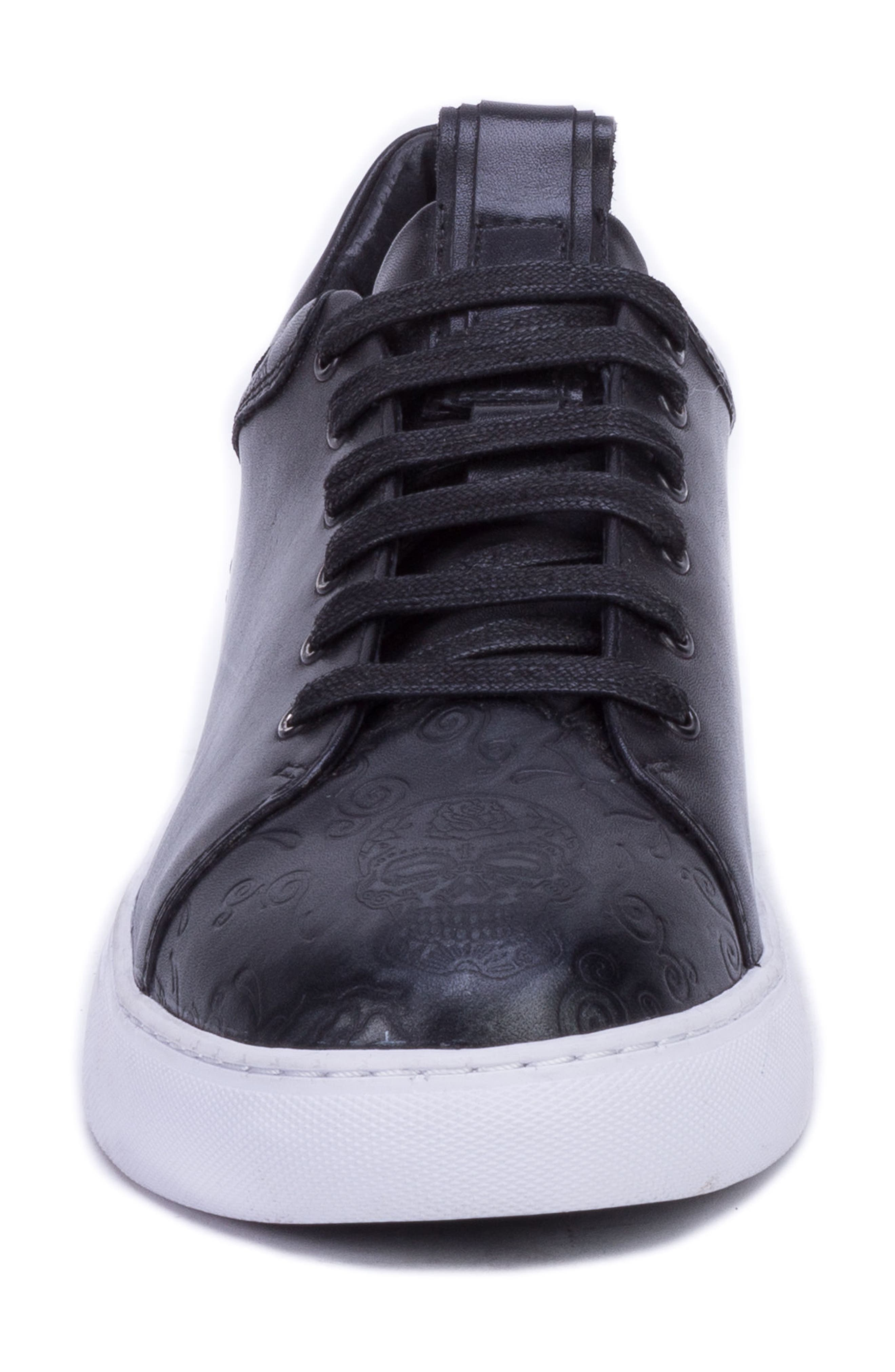 Sanderson Embossed Sneaker,                             Alternate thumbnail 4, color,                             BLACK LEATHER
