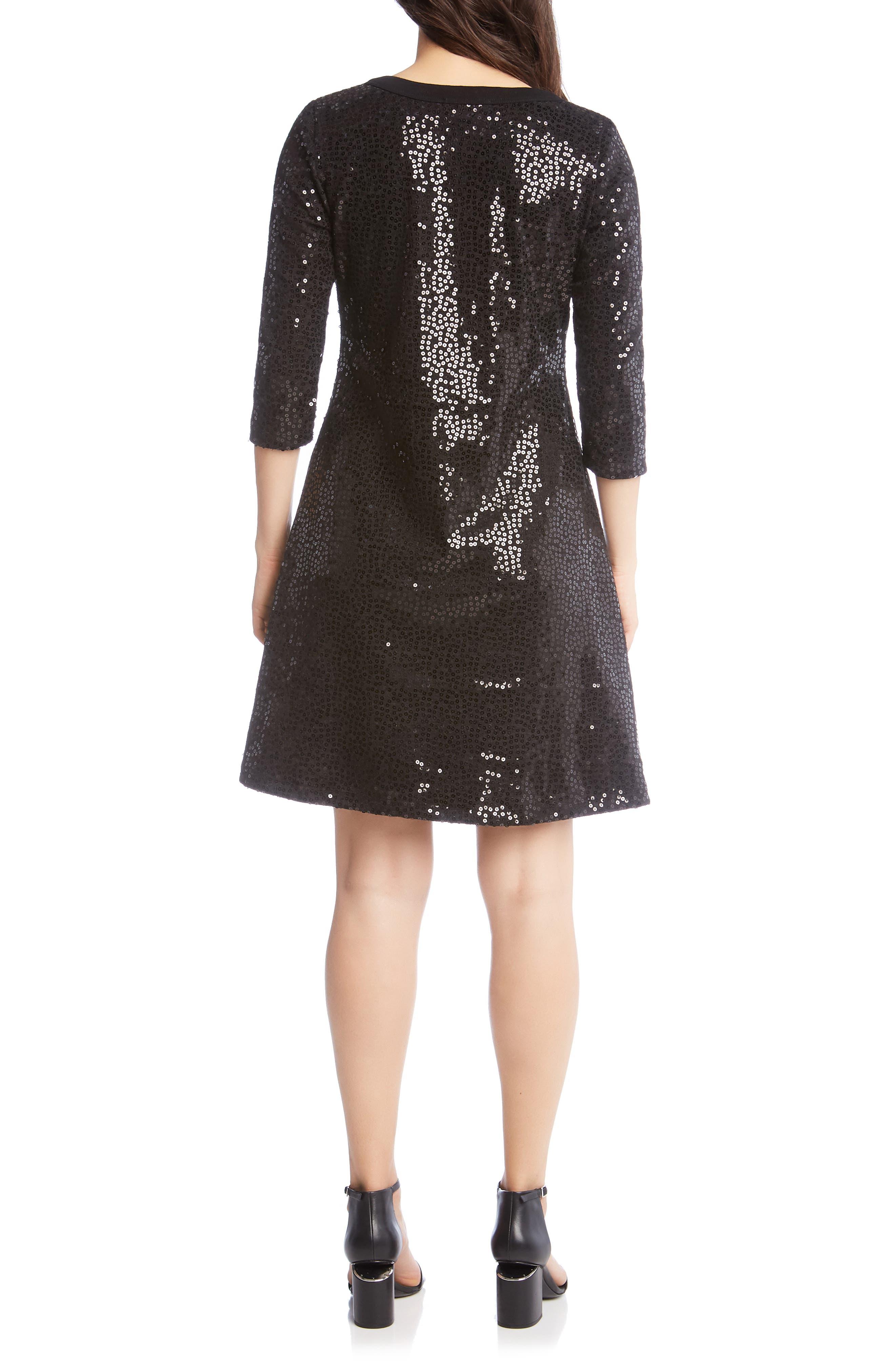 Sequin Embellished Sweater Dress,                             Alternate thumbnail 2, color,                             001