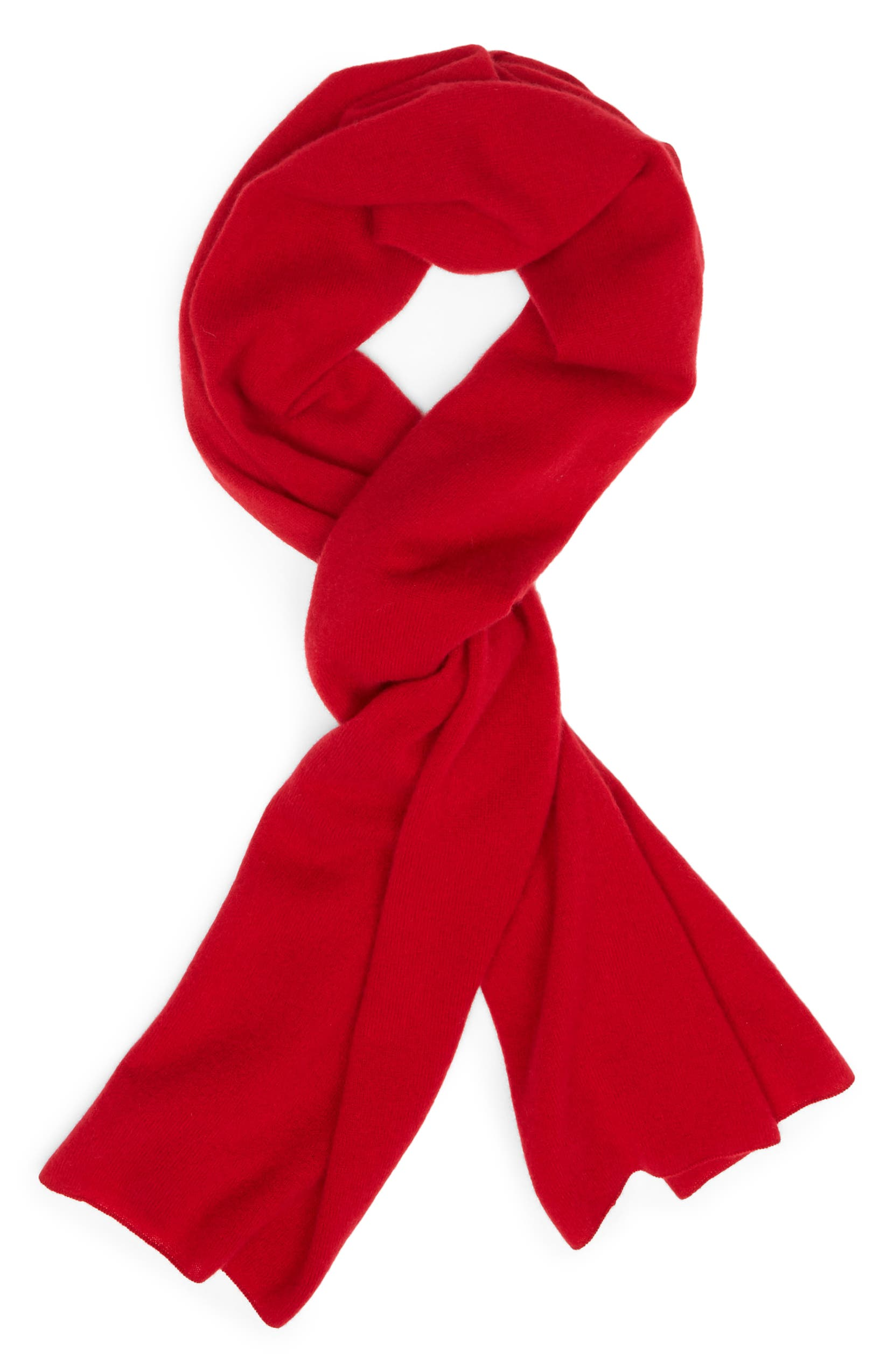 Solid Cashmere Scarf,                         Alternate,                         color, RED CHILI