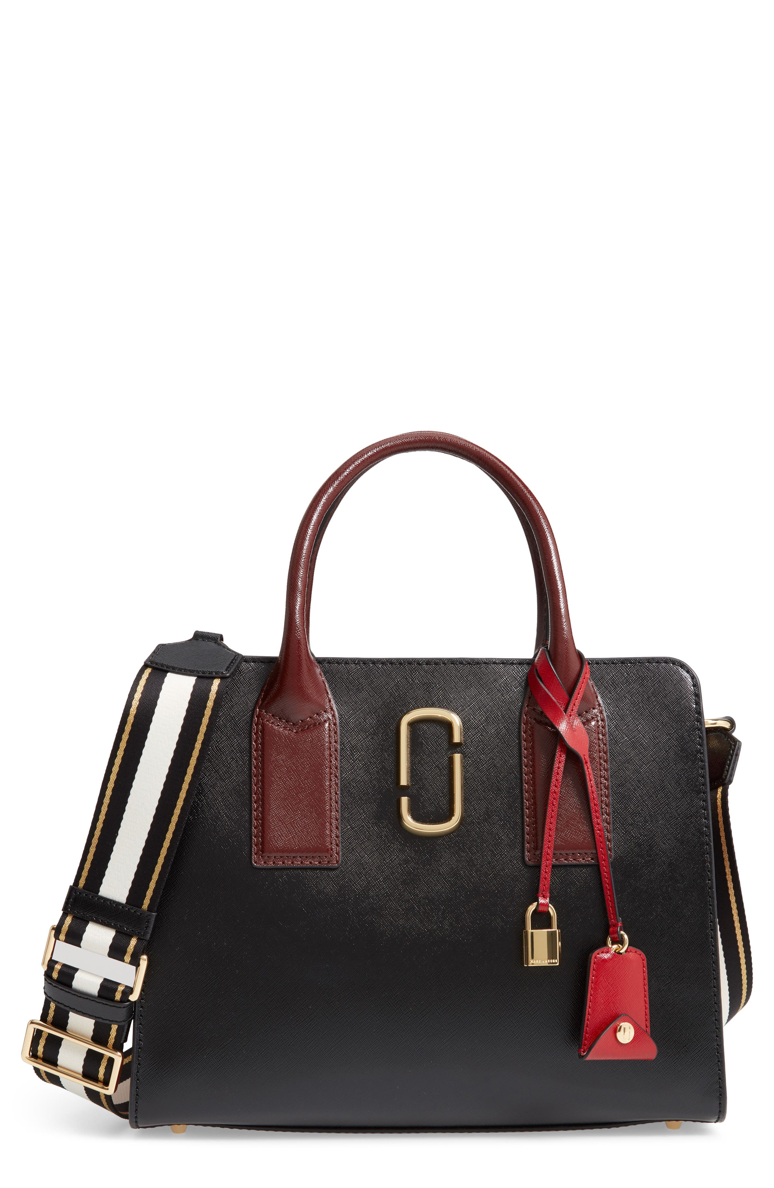 MARC JACOBS Big Shot Leather Tote, Main, color, 001