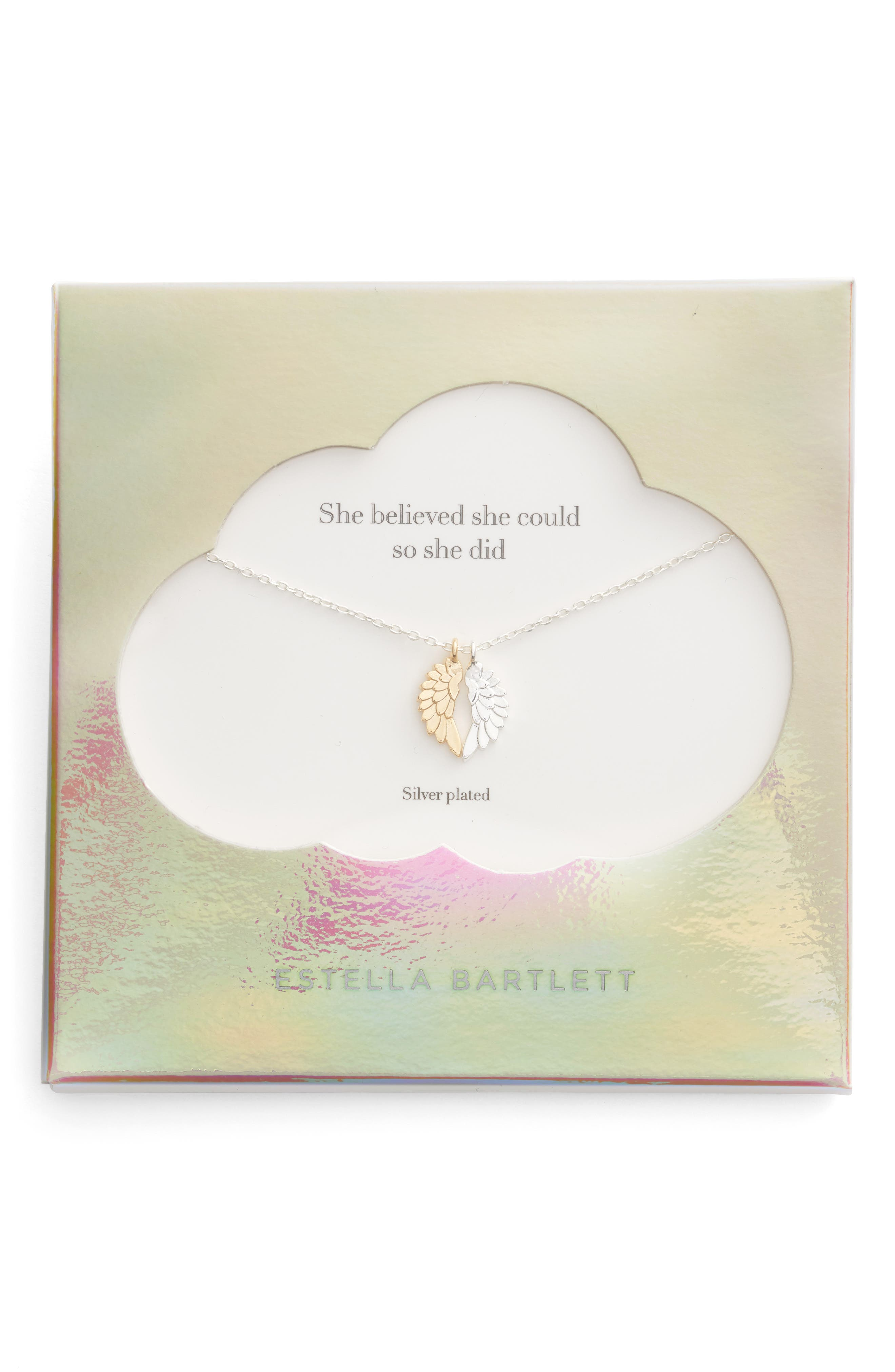 She Believed She Could Wings Necklace,                             Main thumbnail 1, color,                             SILVER