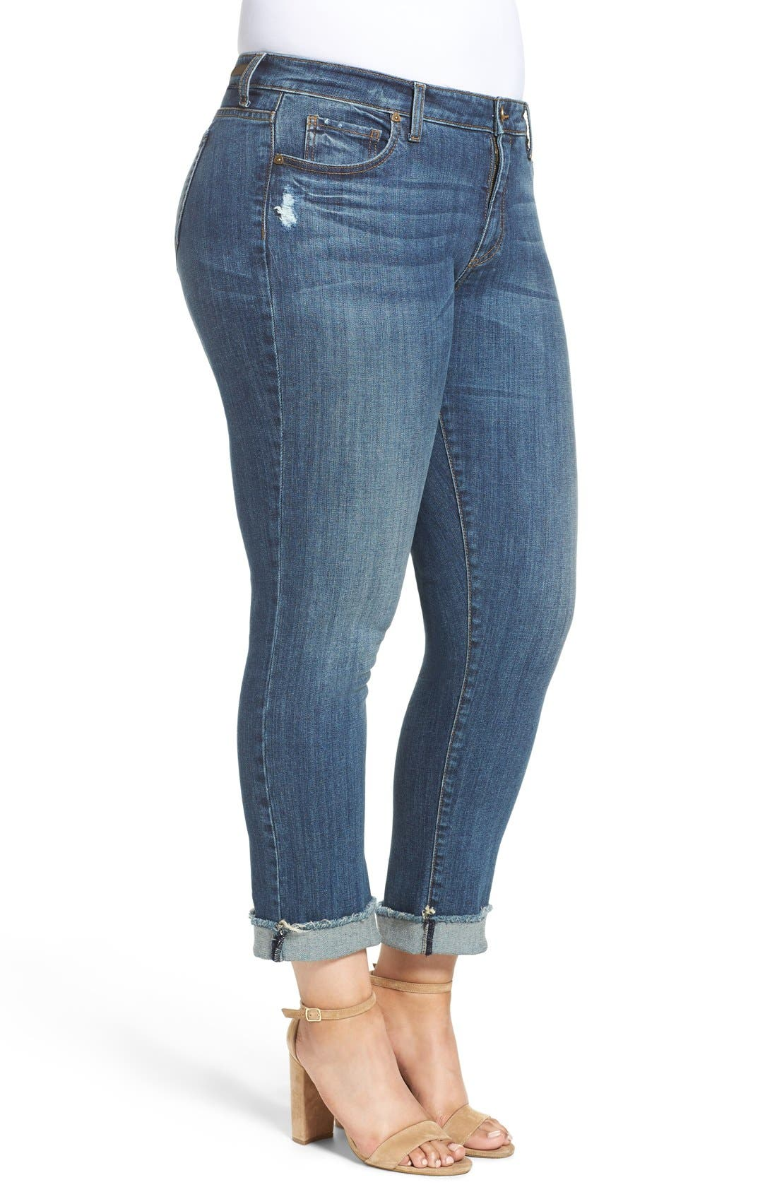 Stretch Roll Cuff Ankle Jeans,                             Alternate thumbnail 7, color,