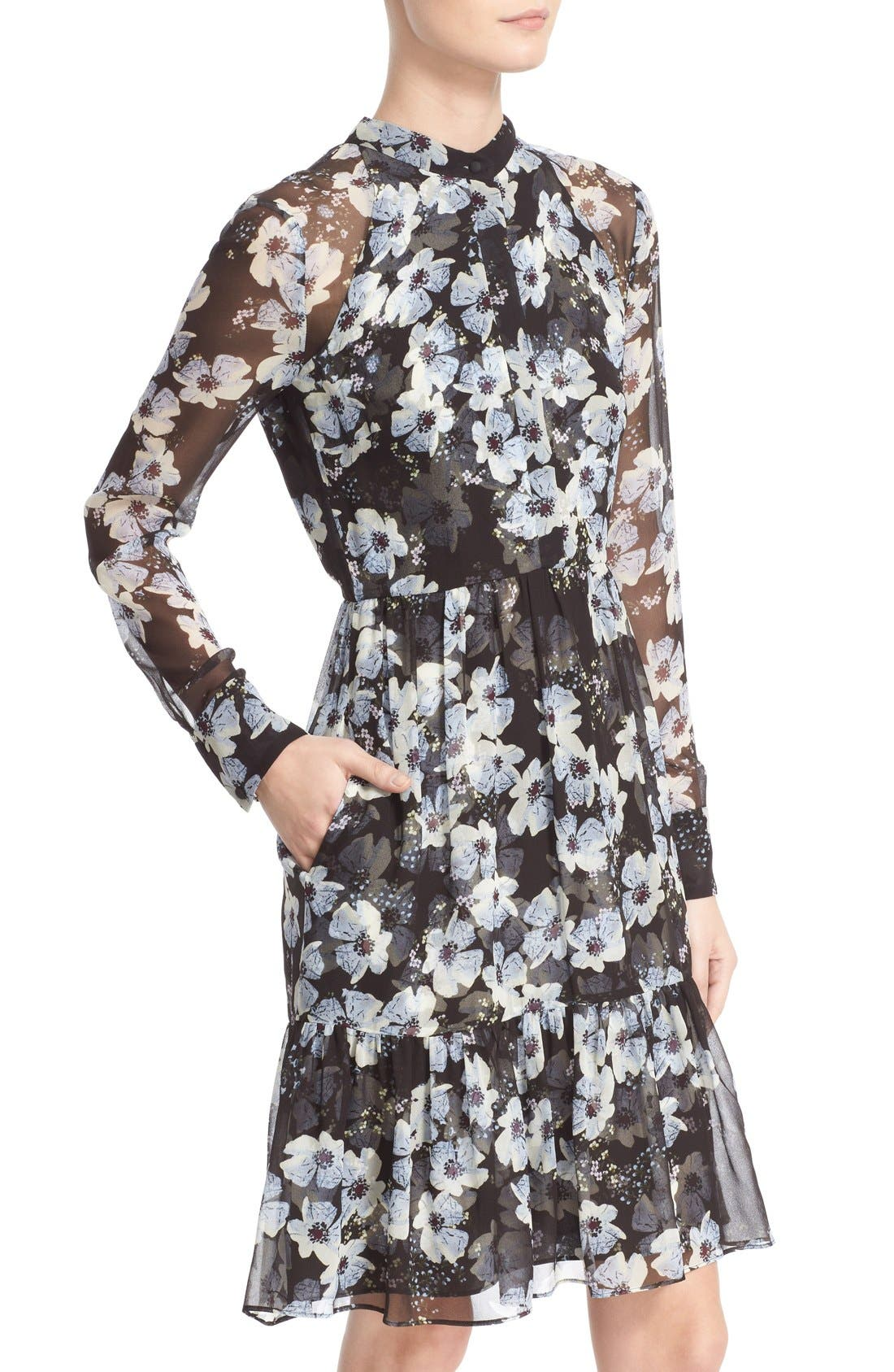 'Devika' Floral Print Silk Voile Dress,                             Alternate thumbnail 6, color,                             003