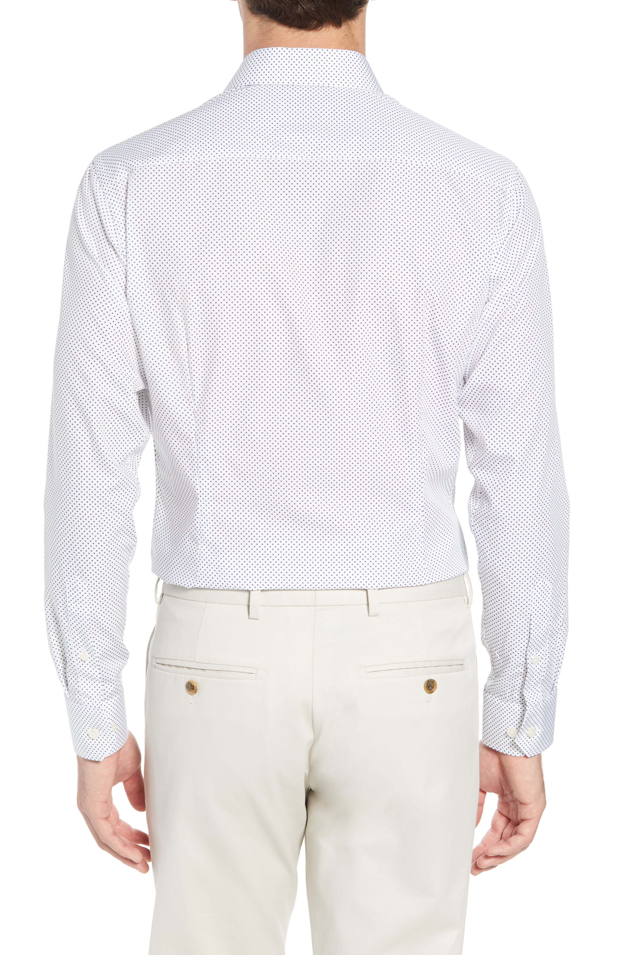 Slim Fit Dot Dress Shirt,                             Alternate thumbnail 3, color,                             100