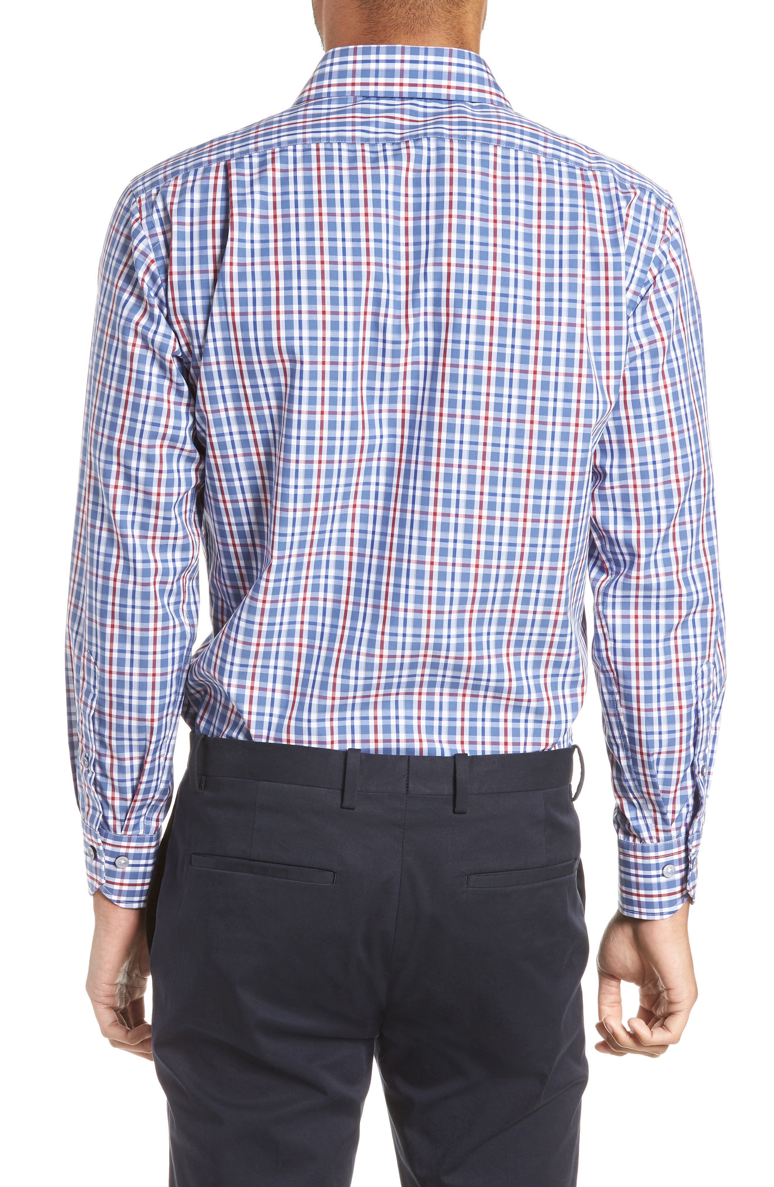 Trim Fit Plaid Dress Shirt,                             Alternate thumbnail 3, color,                             410