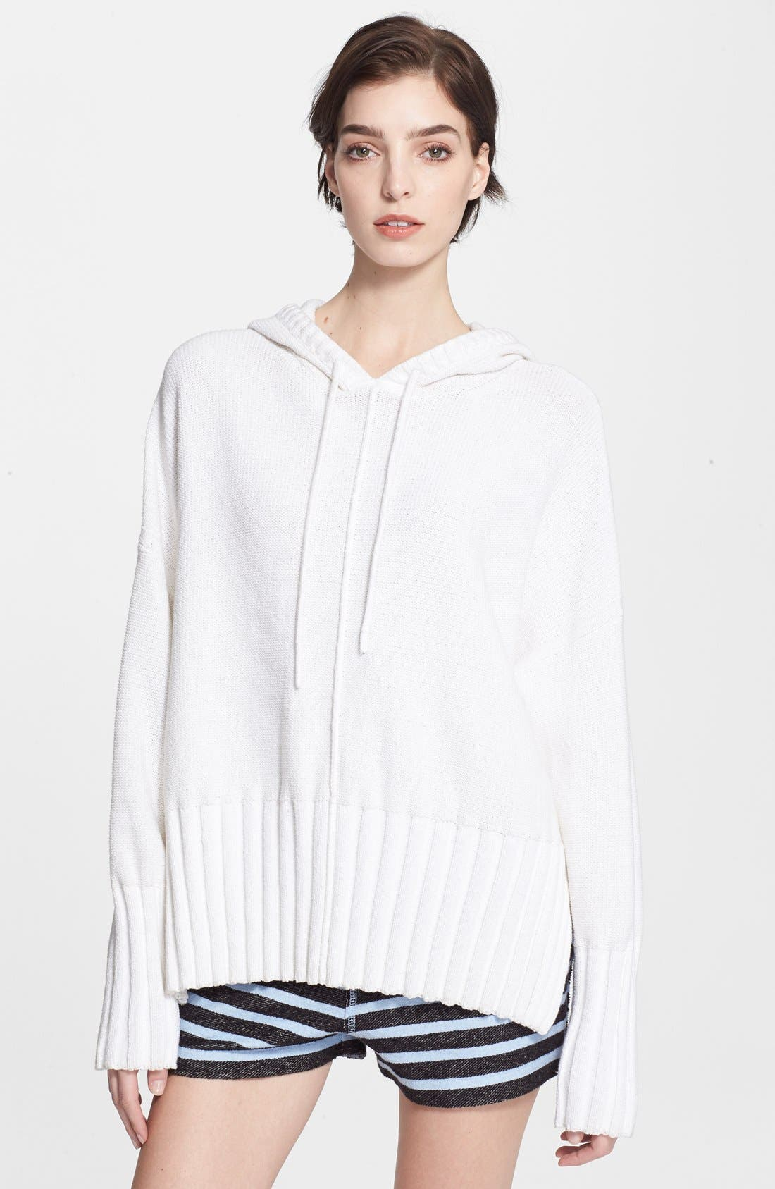 T by Alexander Wang Chunky Knit Hoodie,                             Main thumbnail 1, color,                             100