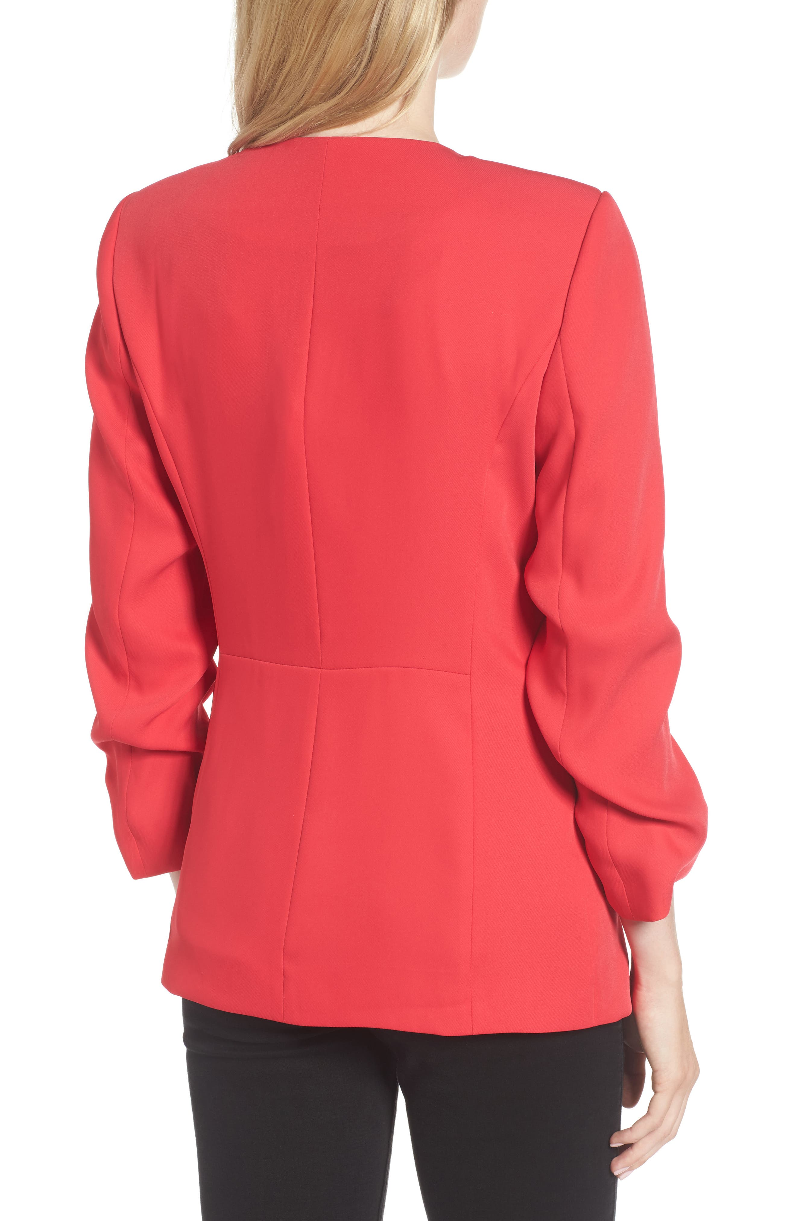 Ruched Sleeve Blazer,                             Alternate thumbnail 4, color,