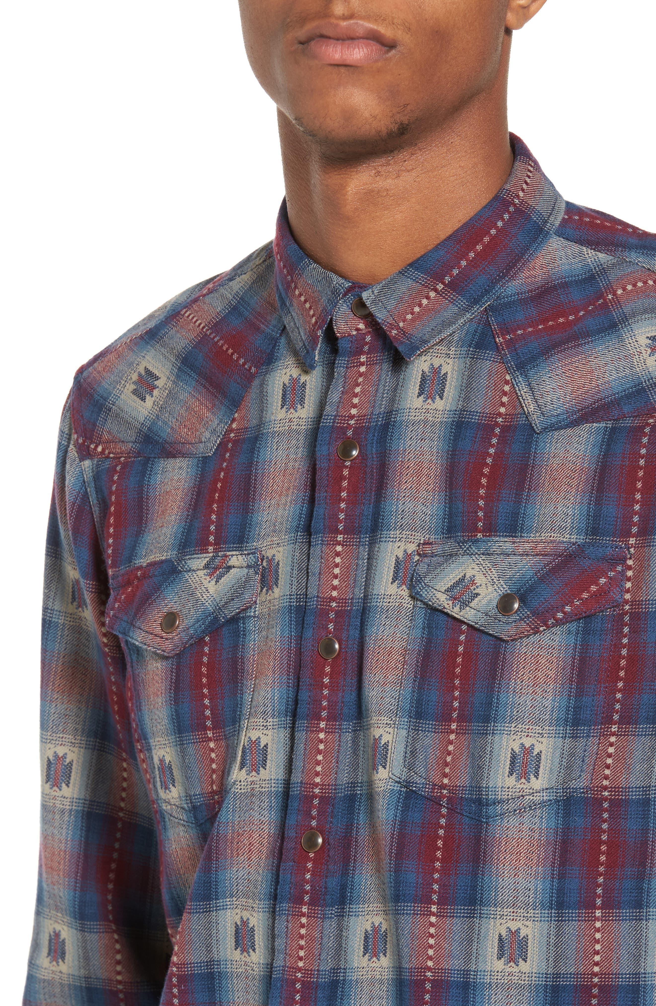 Feliz Dobby Plaid Western Shirt,                             Alternate thumbnail 8, color,