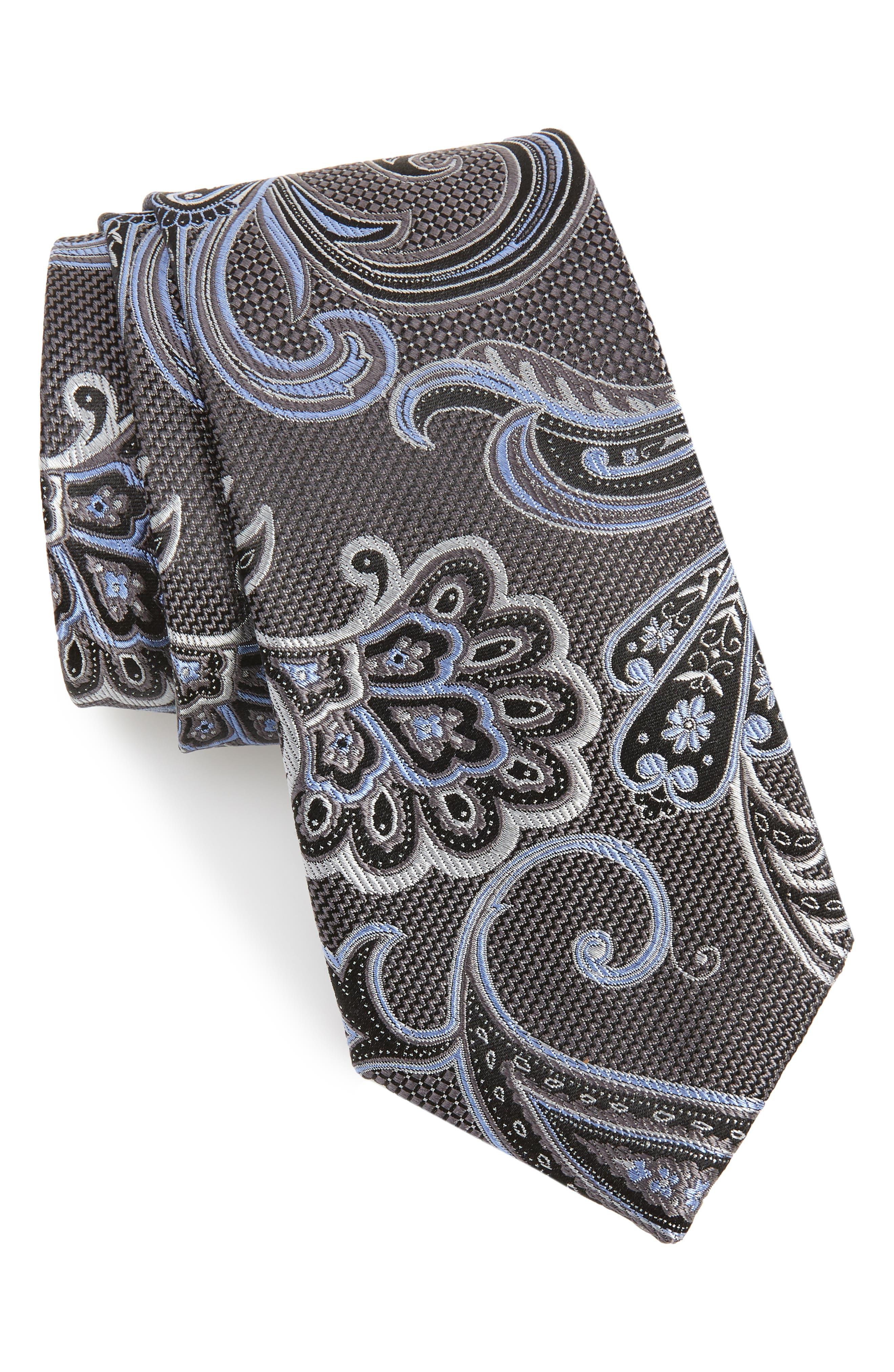 Bryce Paisley Silk Tie,                         Main,                         color, GREY