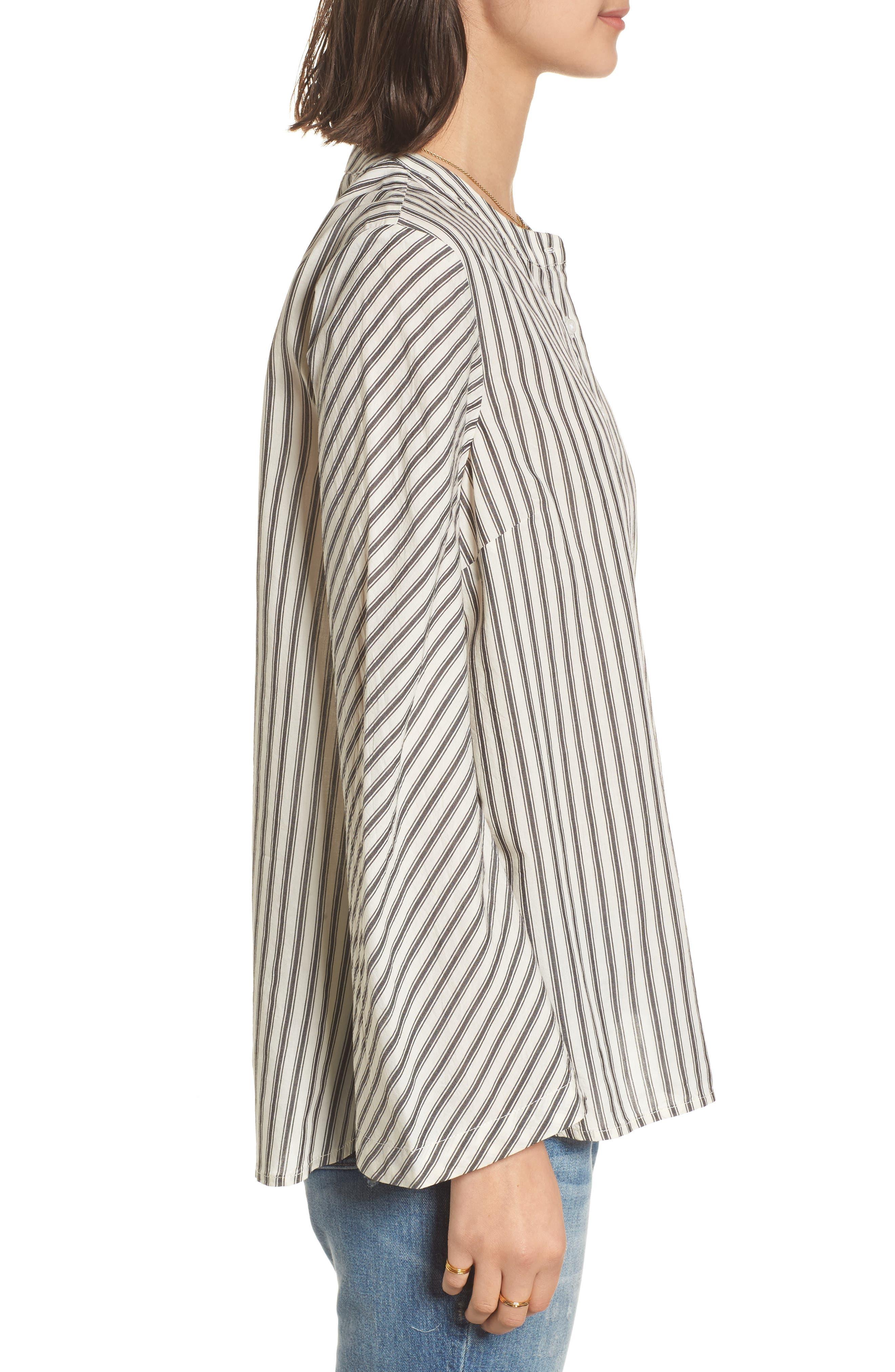 Stripe Flare Sleeve Shirt,                             Alternate thumbnail 3, color,                             190