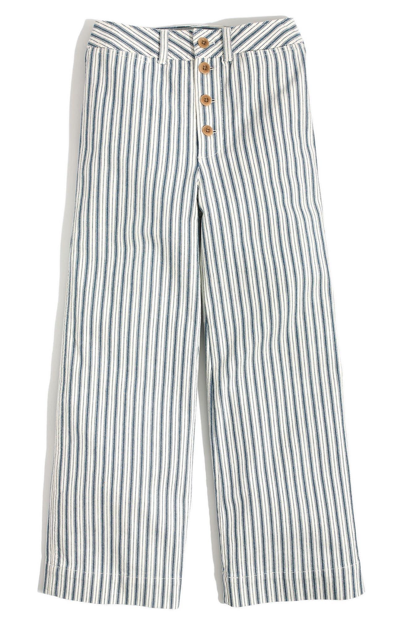 Emmett Stripe Crop Wide Leg Pants,                             Alternate thumbnail 3, color,                             400