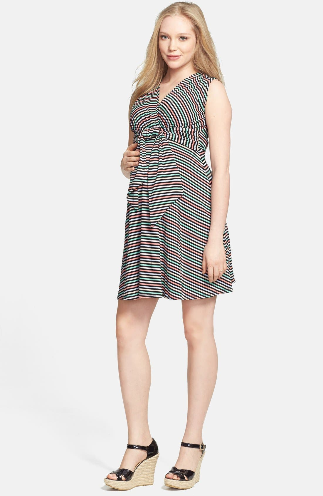 Tie Front Maternity Dress,                             Main thumbnail 1, color,                             CANDY STRIPES