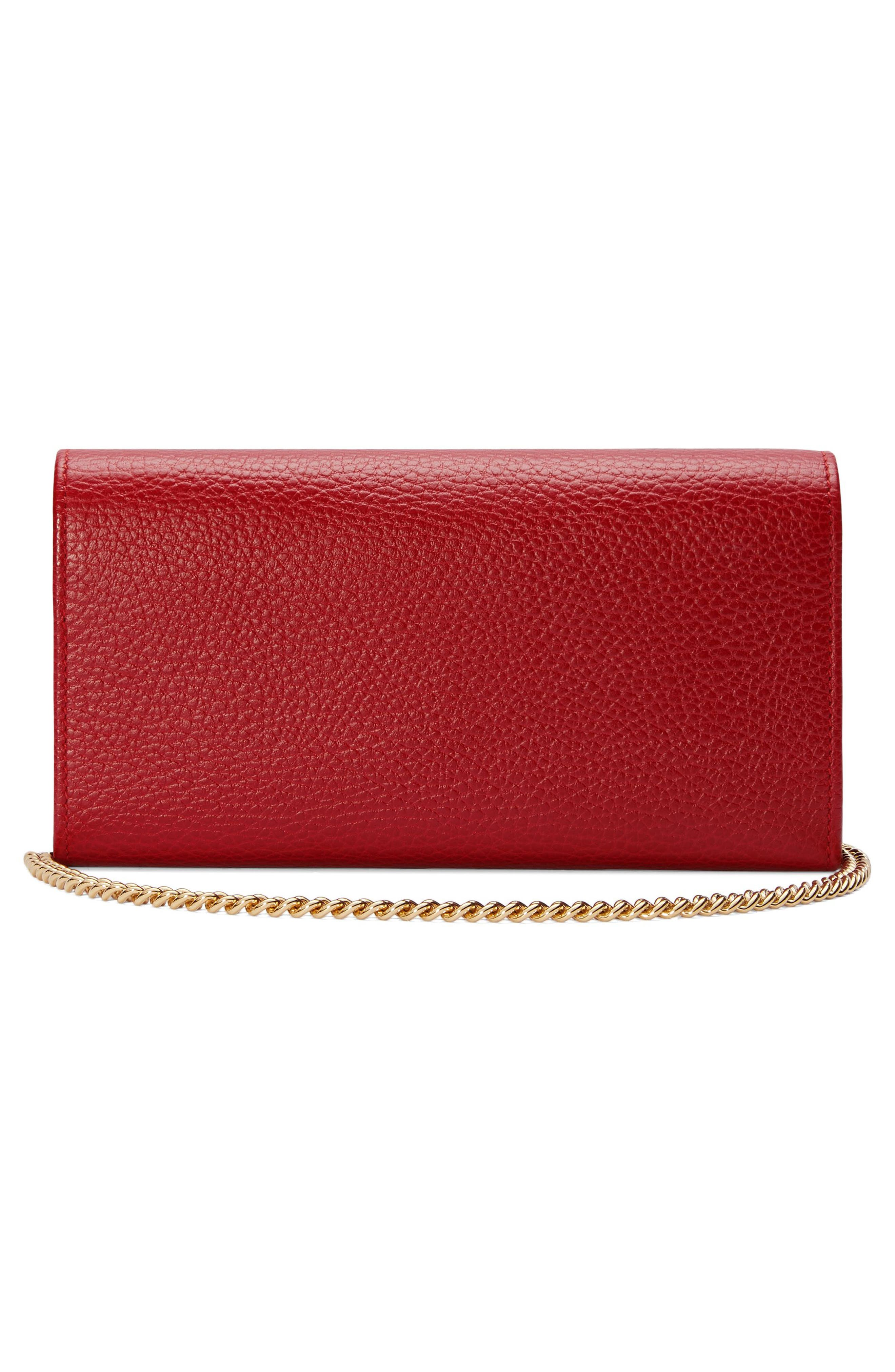 Petite Marmont Leather Continental Wallet on a Chain,                             Alternate thumbnail 2, color,                             HIBISCUS RED