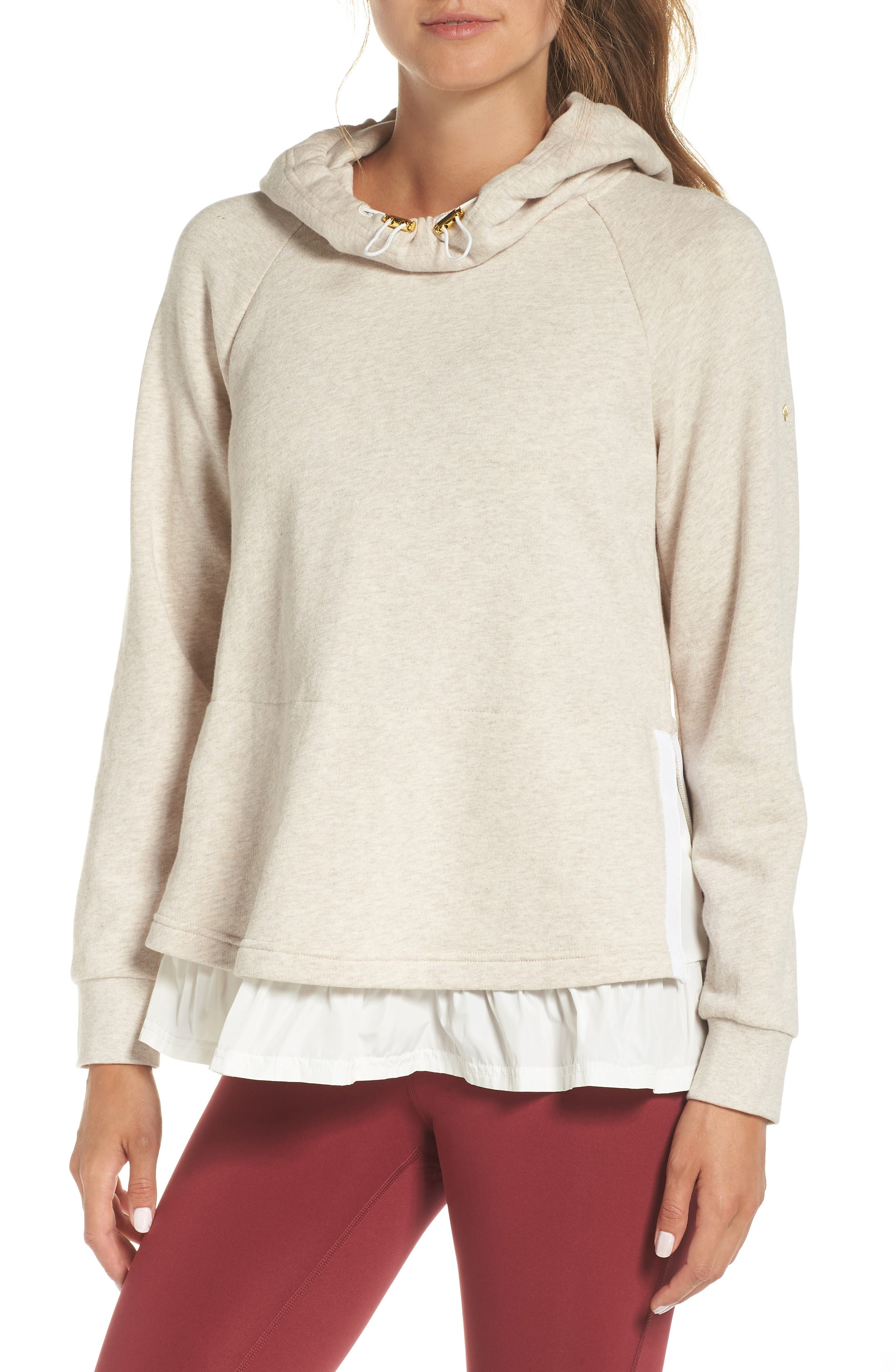 ruffle hoodie,                             Main thumbnail 1, color,                             OATMEAL MELANGE