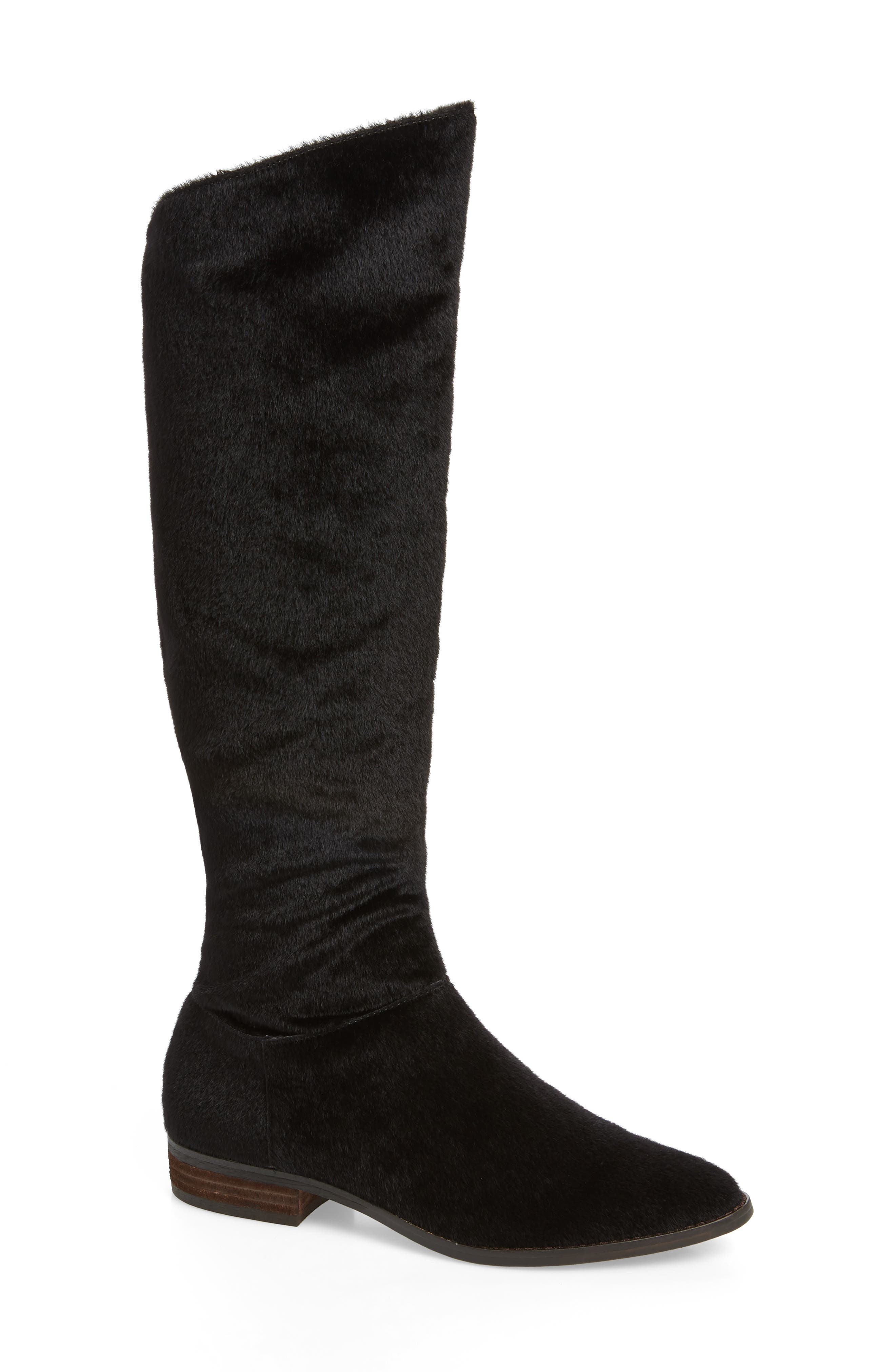 BAND OF GYPSIES Luna Over The Knee Boot in Black Faux Pony