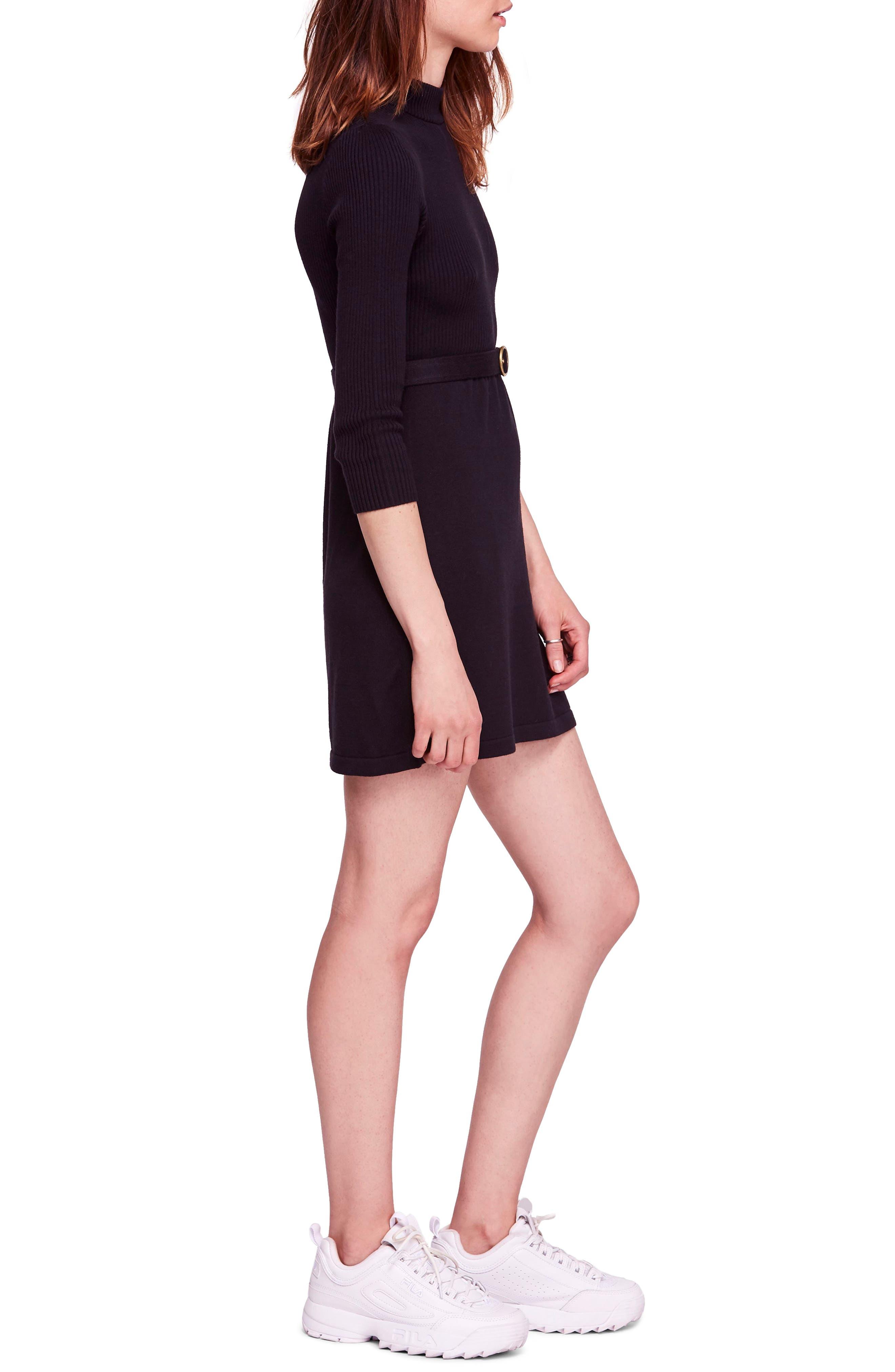 French Girl Sweater Minidress,                             Alternate thumbnail 3, color,                             001