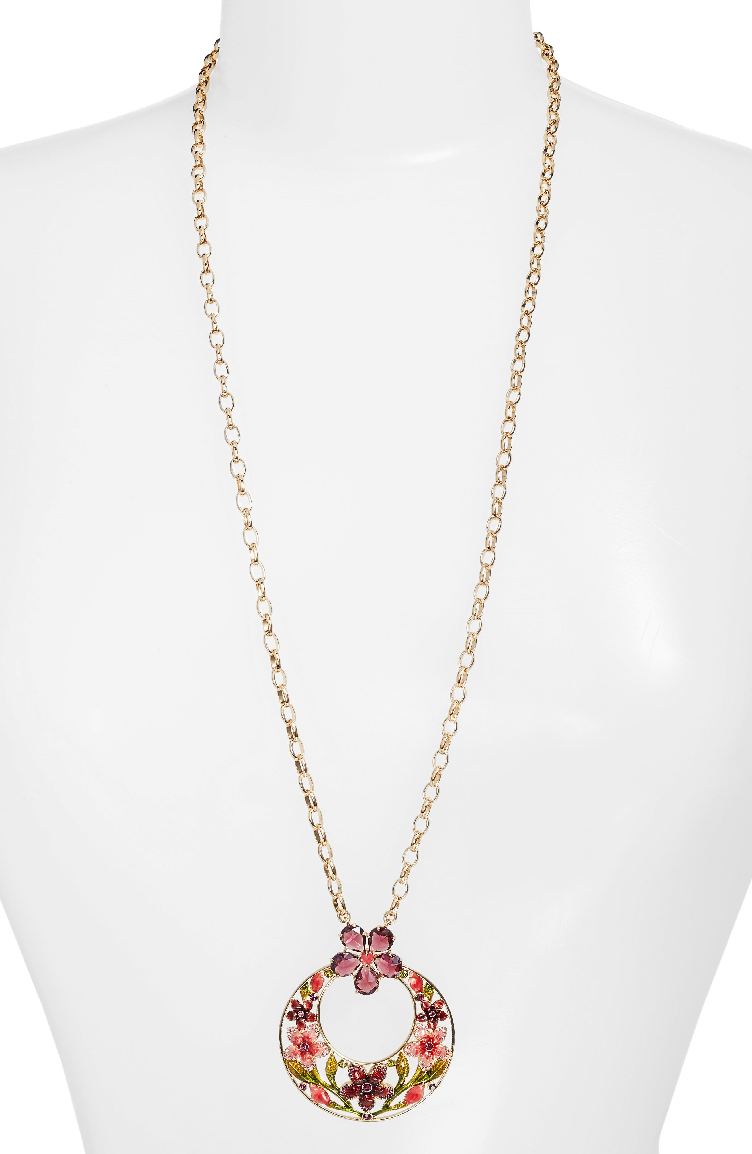 in full bloom pendant necklace,                         Main,                         color, 710