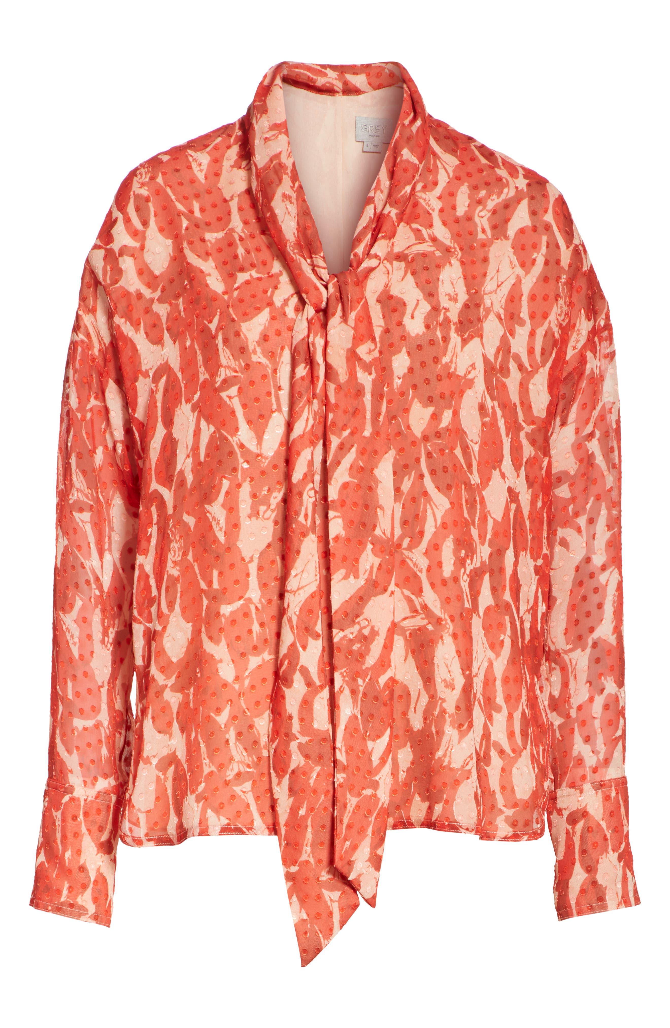 Print Clip Dot Tie Neck Blouse,                             Alternate thumbnail 6, color,                             600