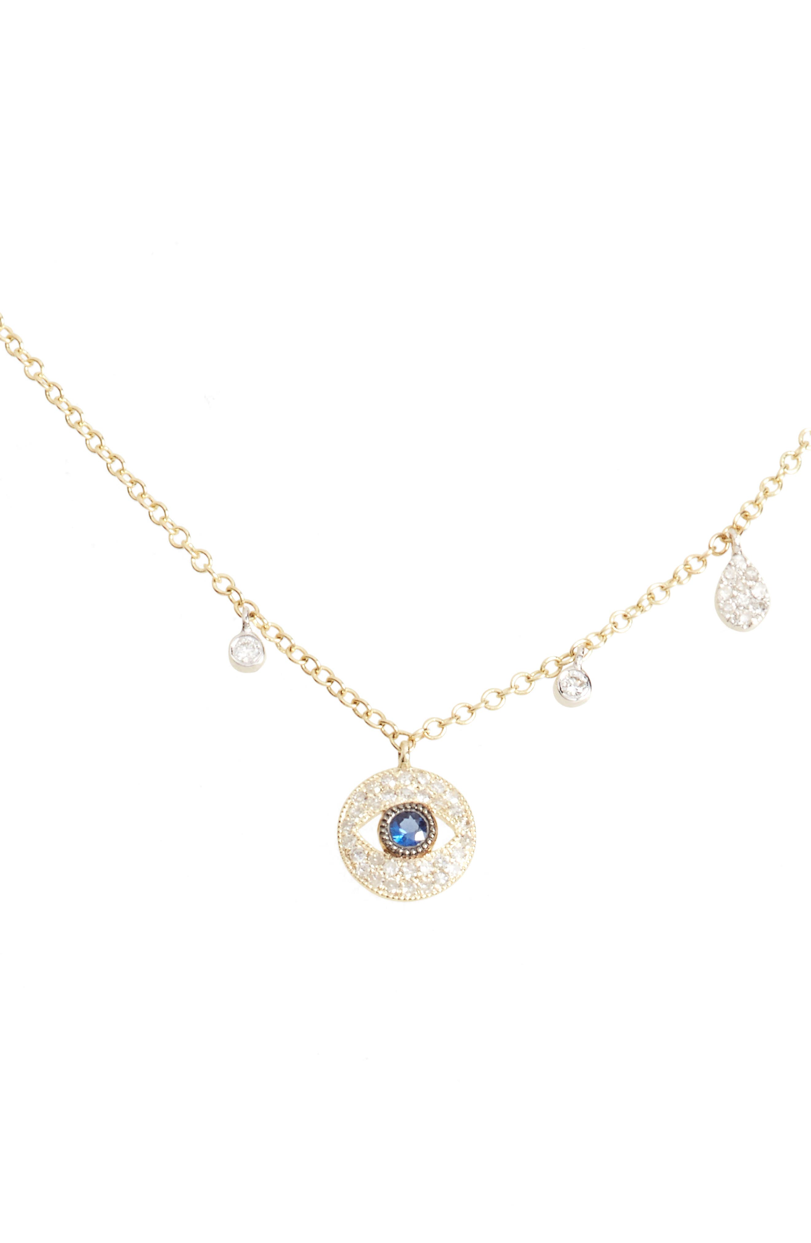 Diamond & Sapphire Evil Eye Pendant Necklace,                             Main thumbnail 1, color,                             YELLOW GOLD