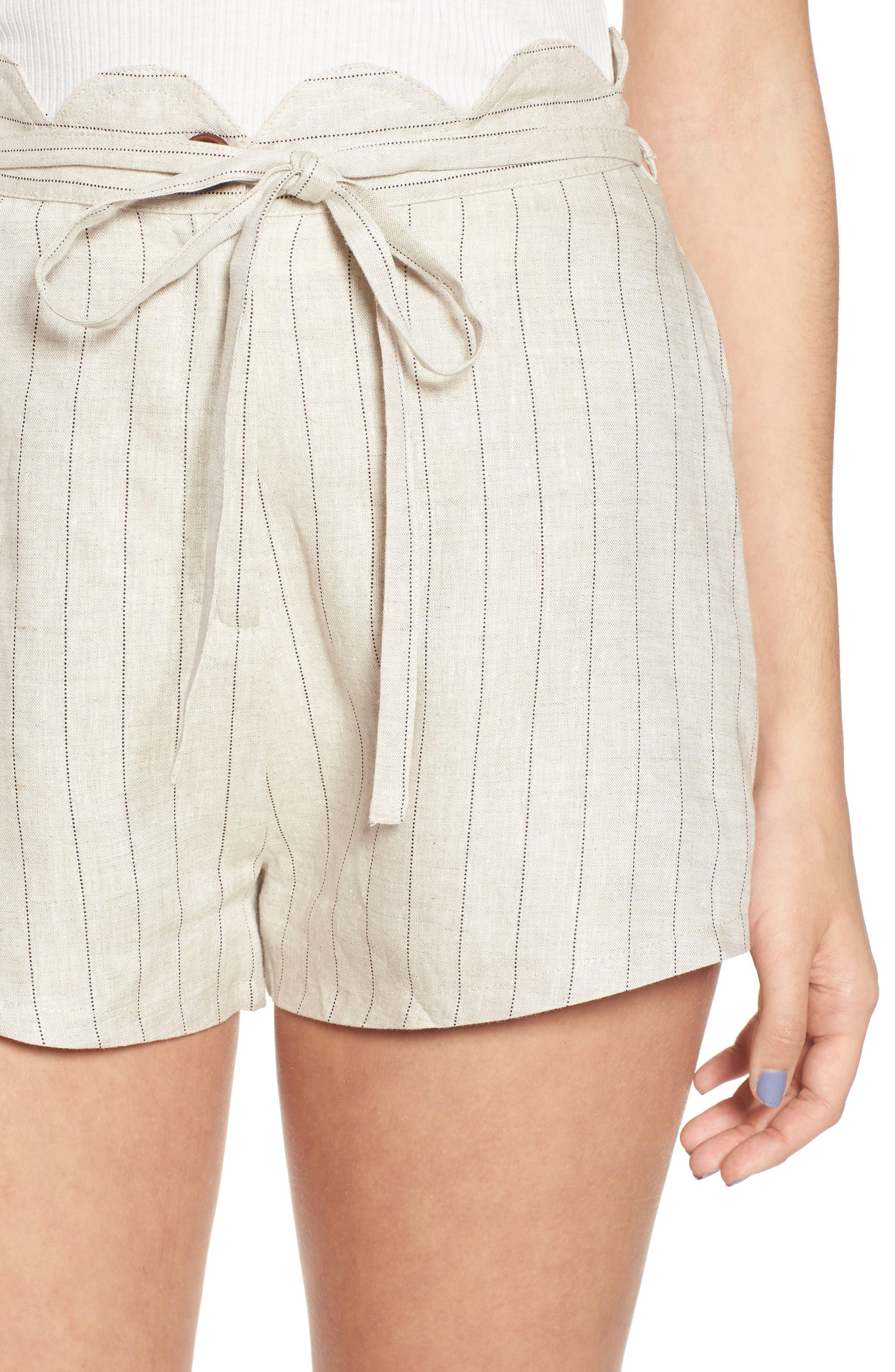 Scallop Waist Linen Shorts,                             Alternate thumbnail 4, color,