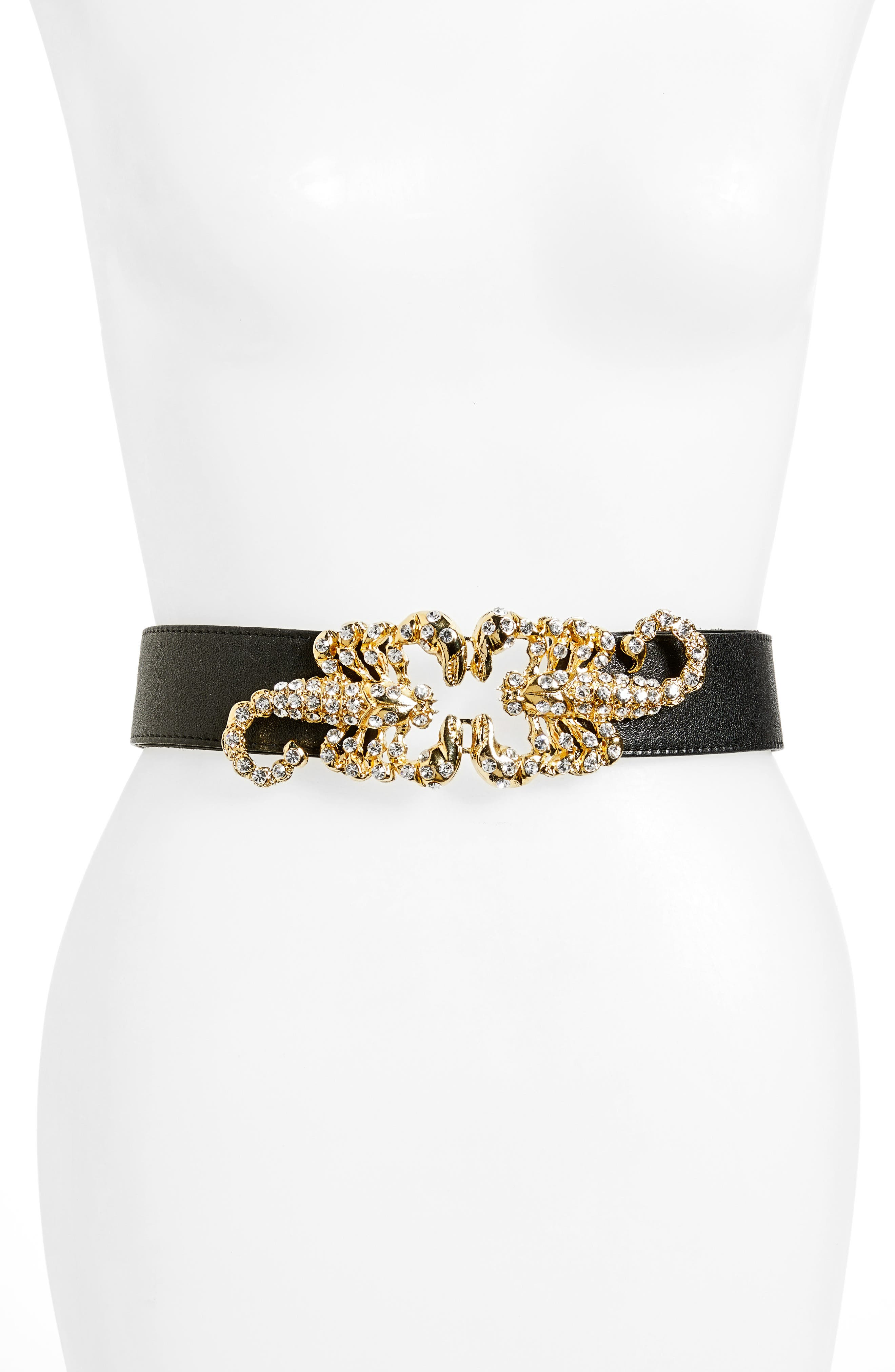 Raina Queen Scorpion Leather Belt, Size One Size - Black/ White Crystal