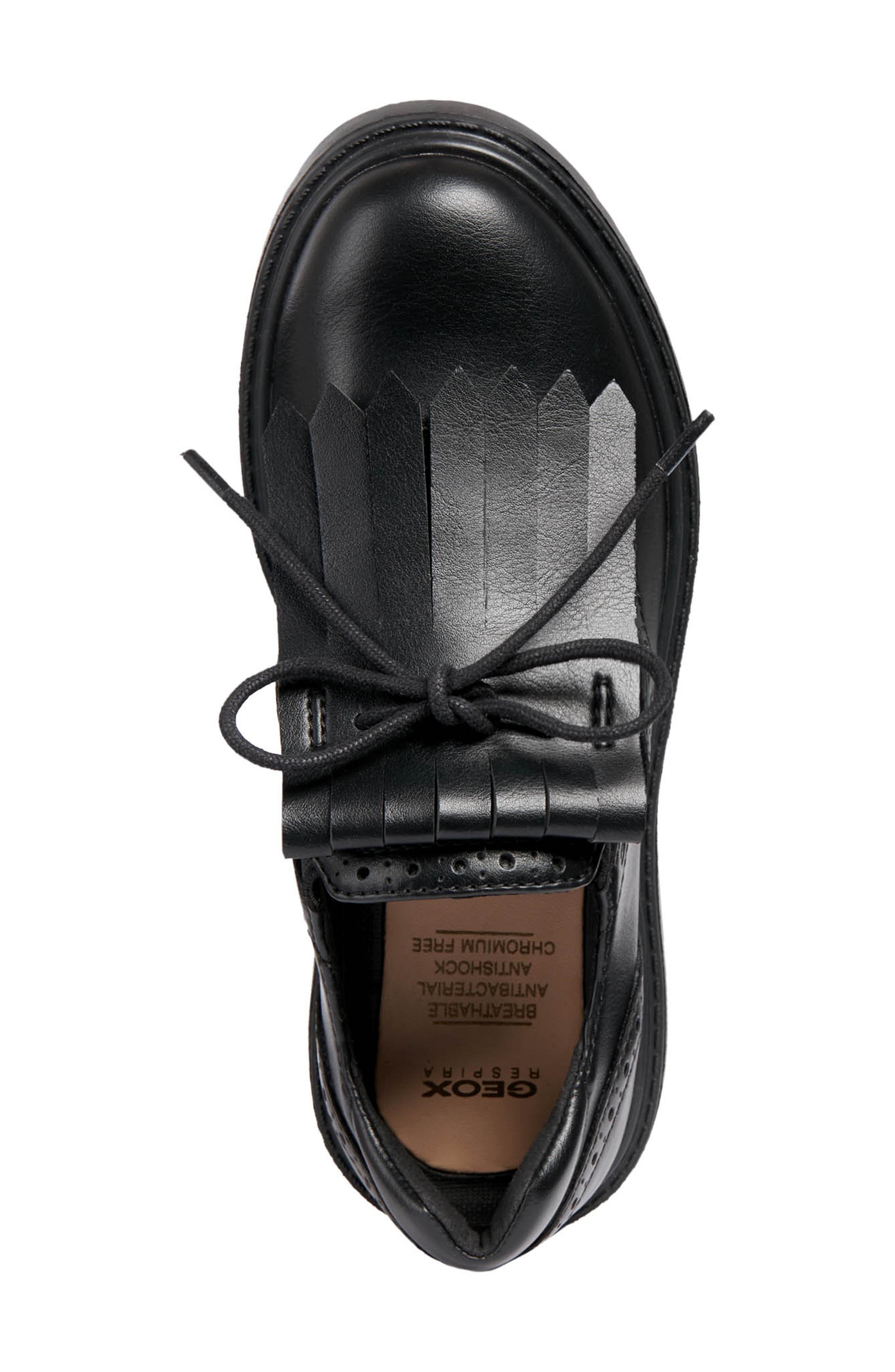 Thymar Kiltie Fringe Sneaker,                             Alternate thumbnail 4, color,                             BLACK