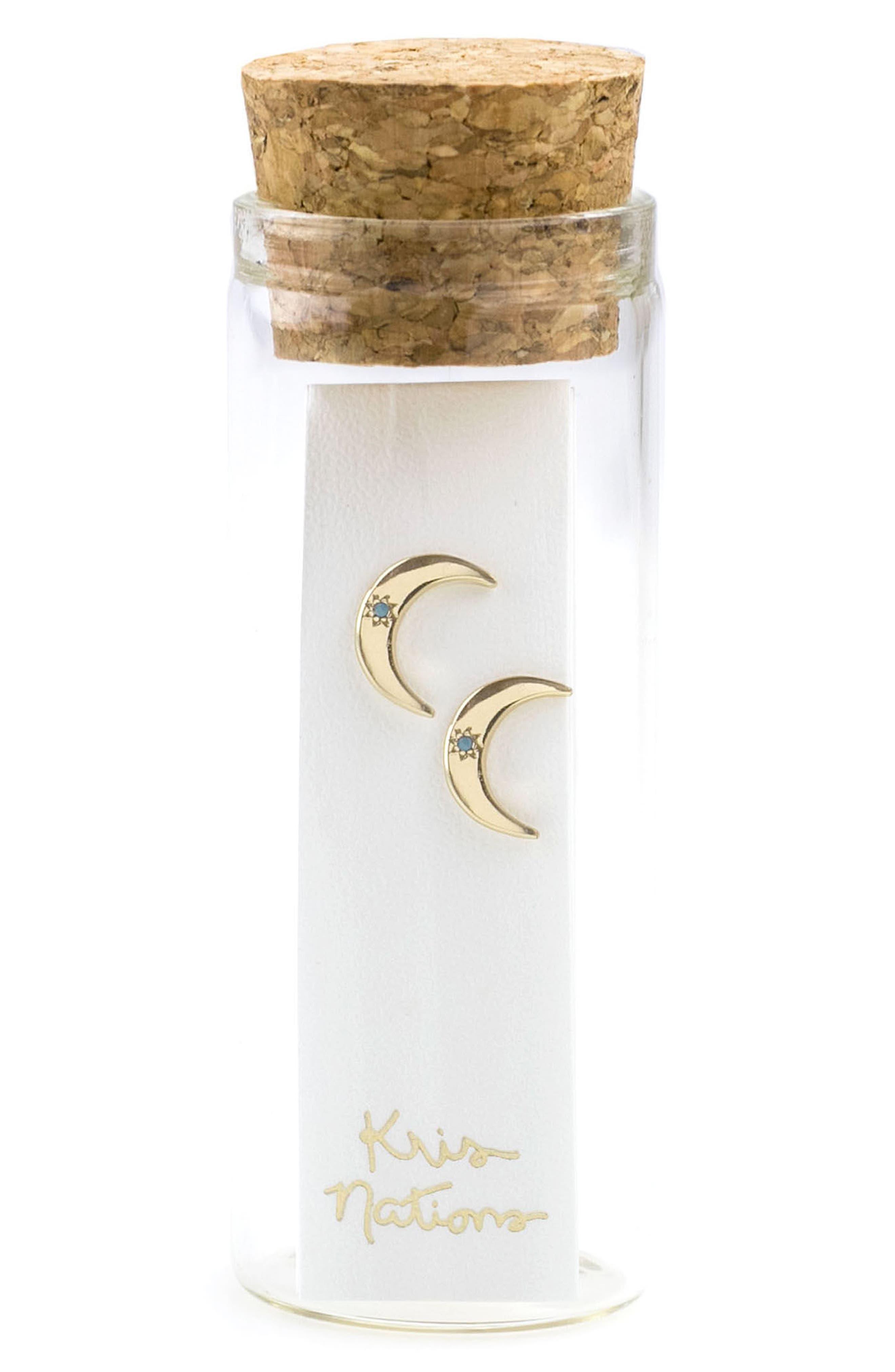 Crescent Moon Stone Stud Earrings,                             Alternate thumbnail 4, color,