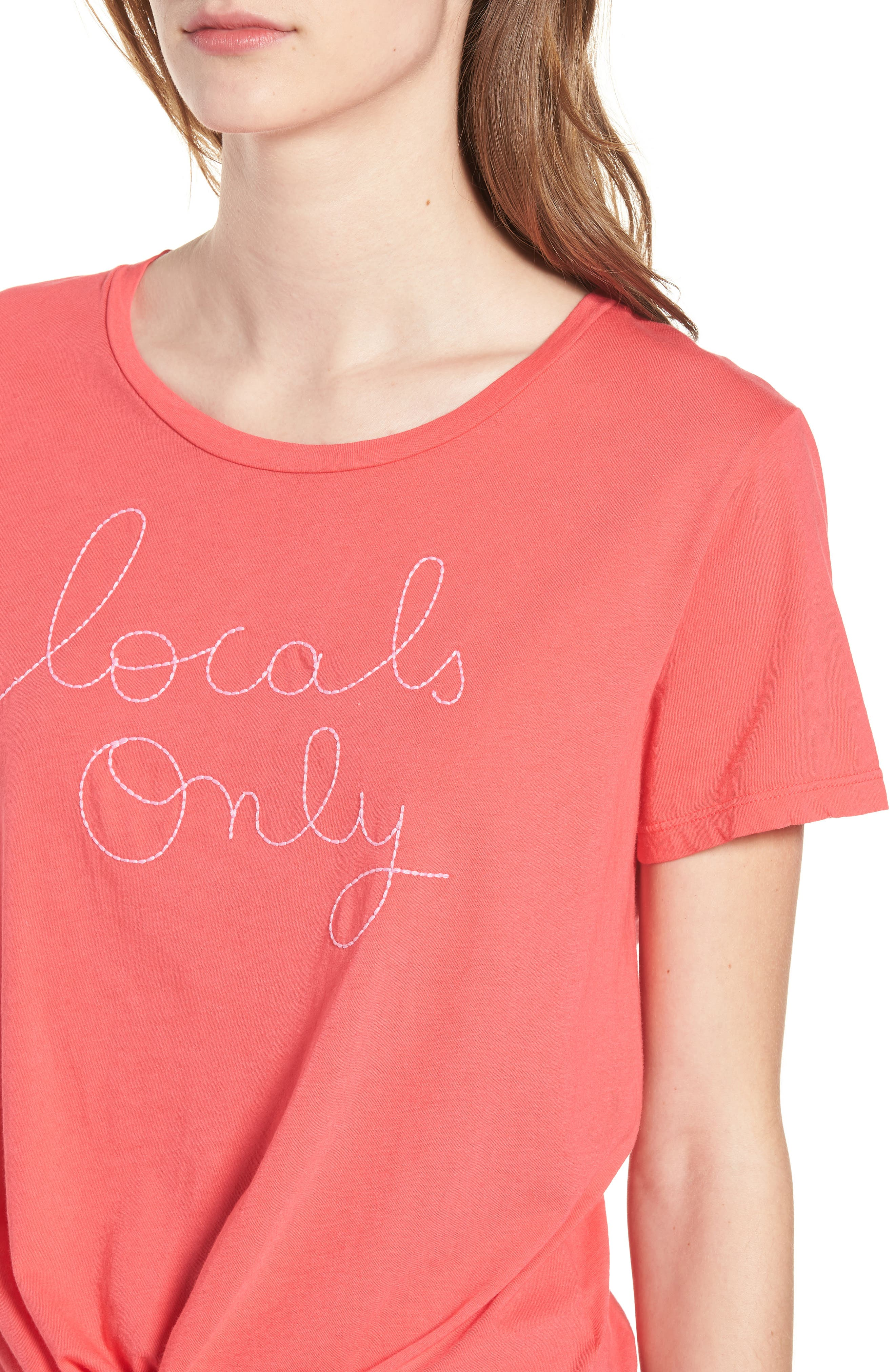 Locals Only Tie Front Tee,                             Alternate thumbnail 4, color,