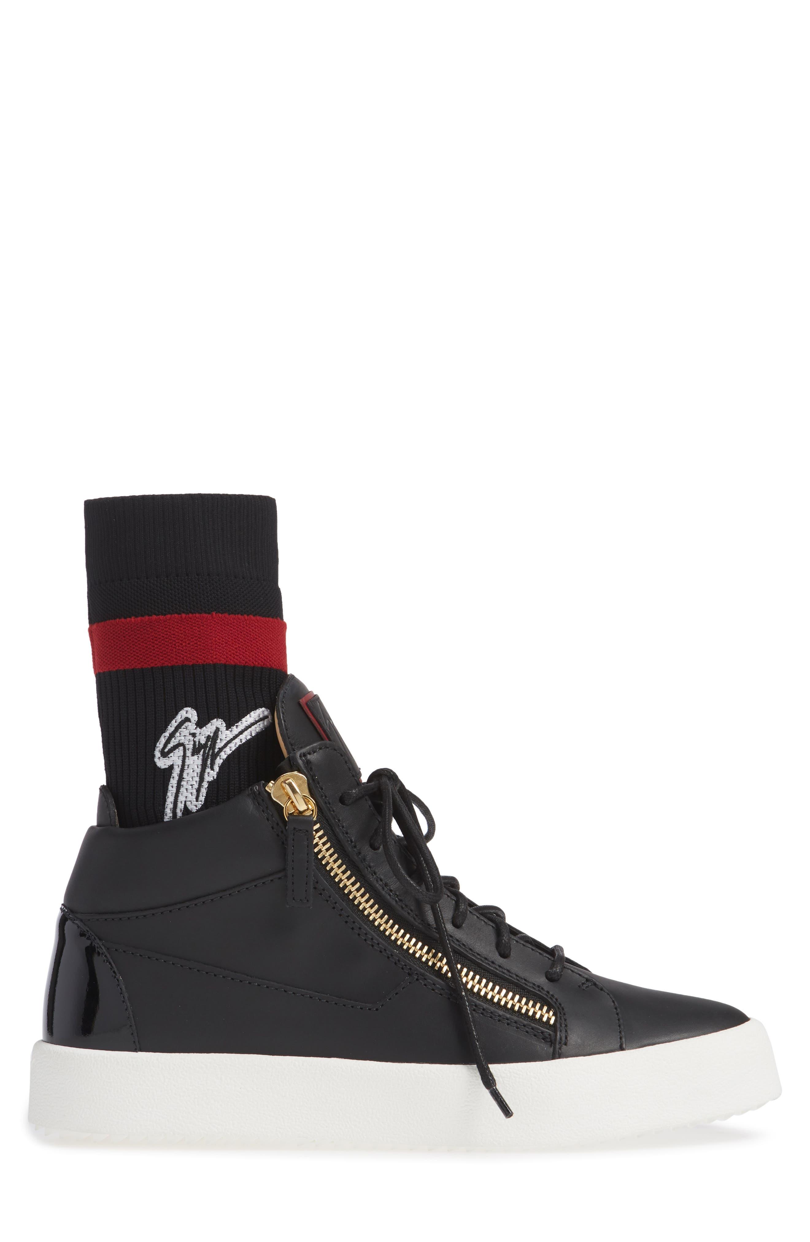 Mid-Top Sneaker,                             Alternate thumbnail 3, color,                             NERO