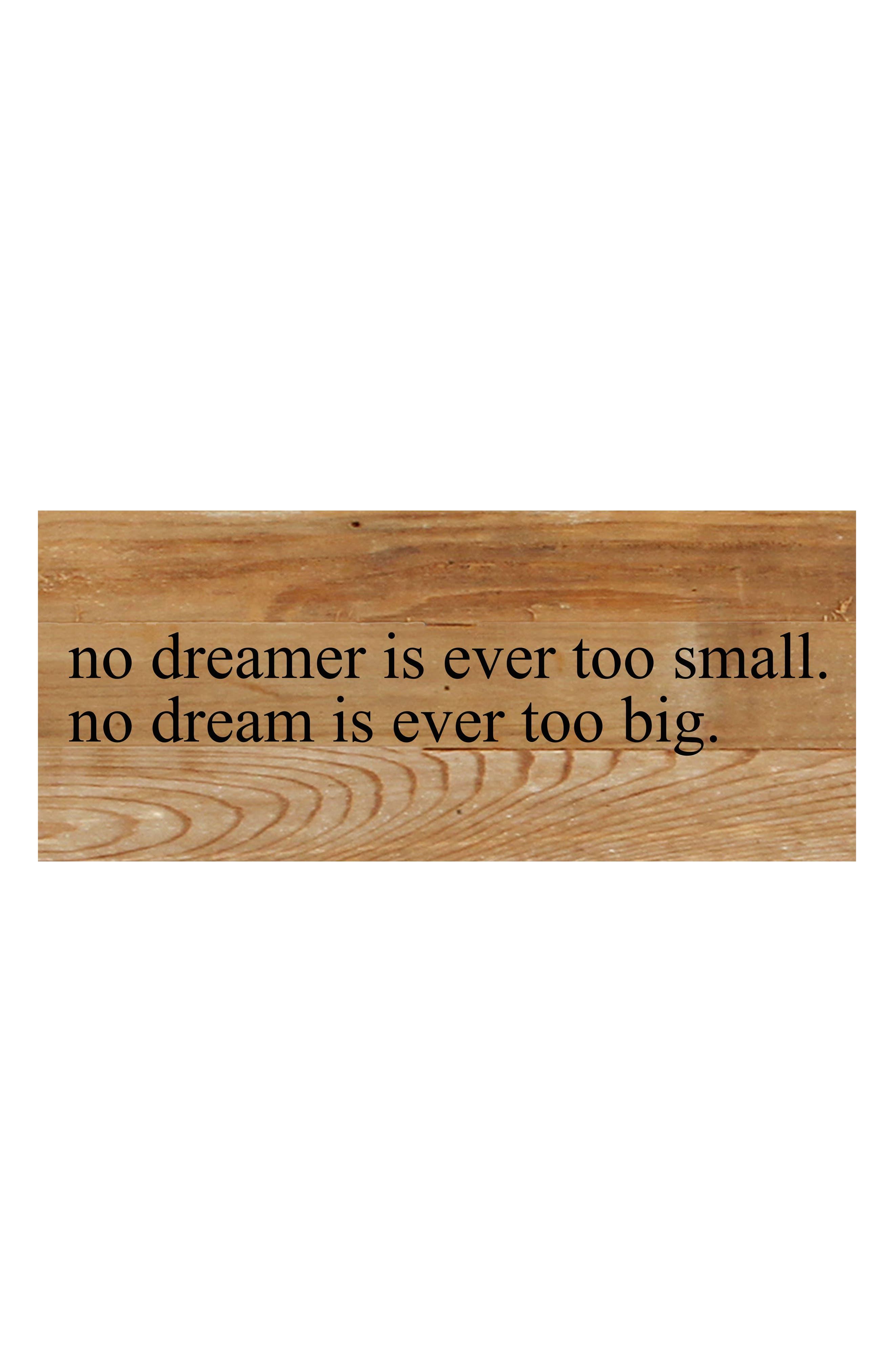 No Dream Too Big Repurposed Wood Wall Art,                             Main thumbnail 1, color,                             BROWN