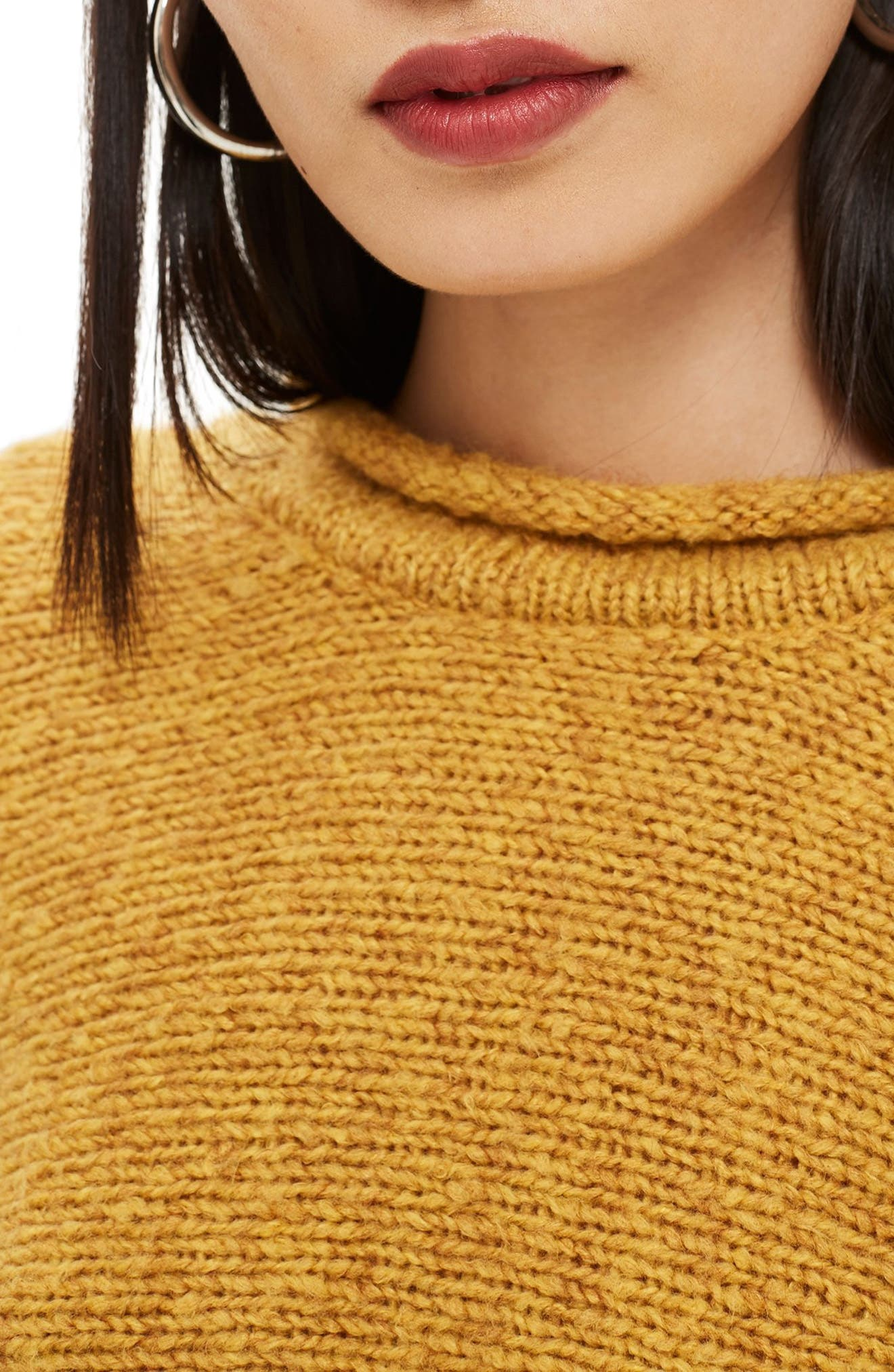 Punk Roll Neck Crop Sweater,                             Alternate thumbnail 3, color,                             MUSTARD