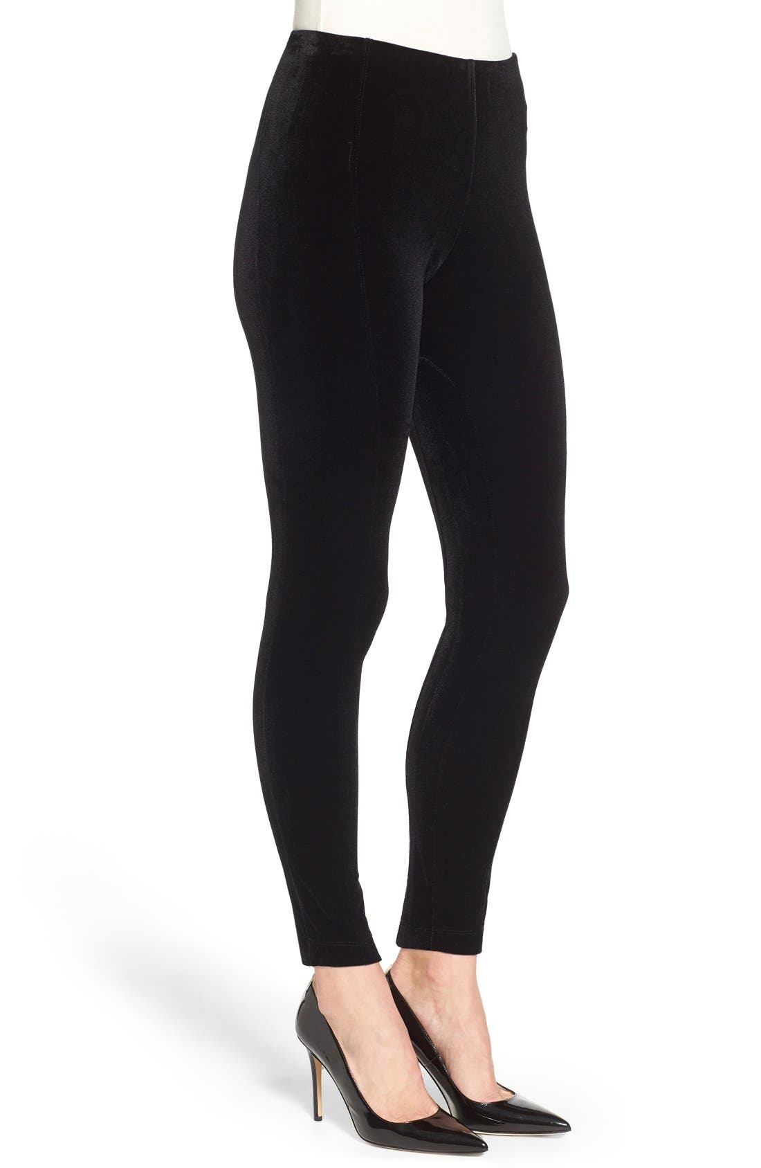 Mara Velvet Leggings,                             Alternate thumbnail 6, color,                             BLACK
