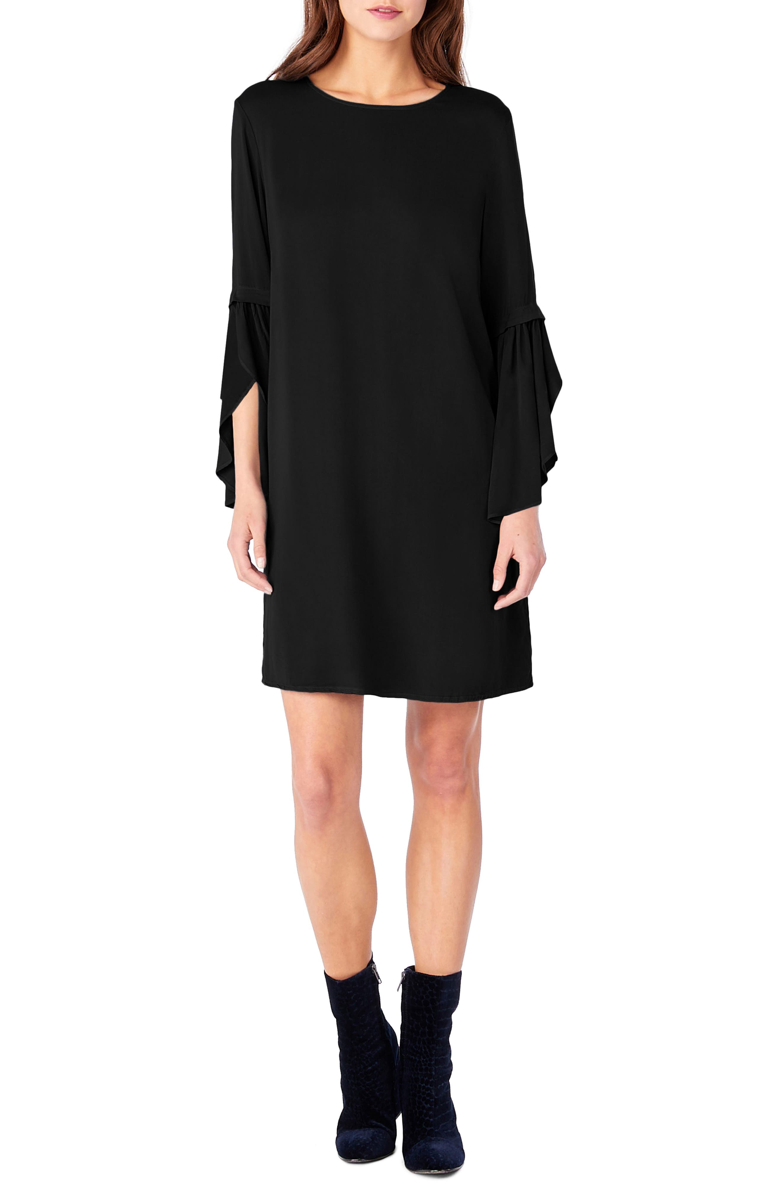 Bell Sleeve Shift Dress,                             Main thumbnail 1, color,                             001