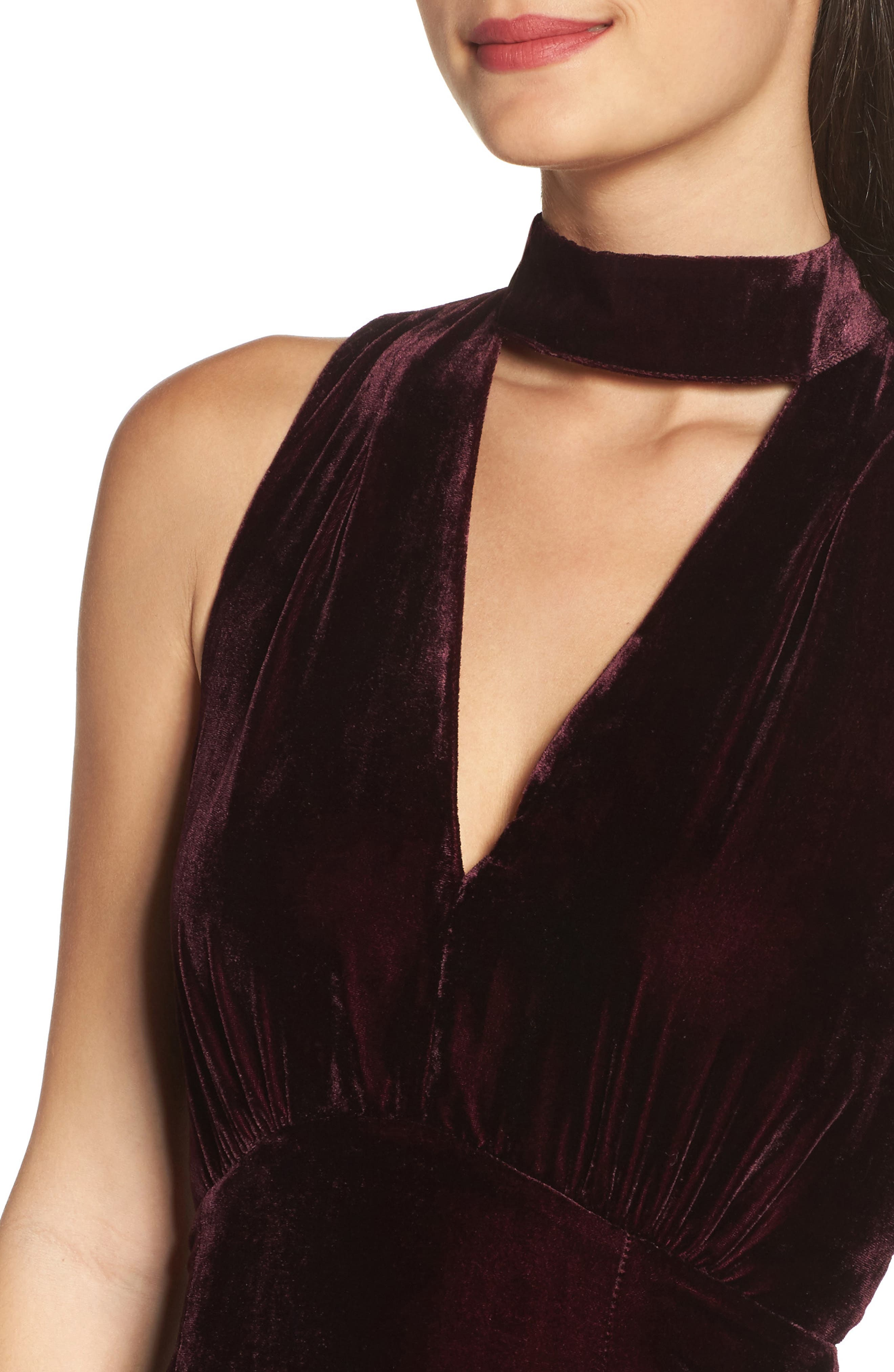 Elle Velvet Choker Sheath Dress,                             Alternate thumbnail 4, color,                             931