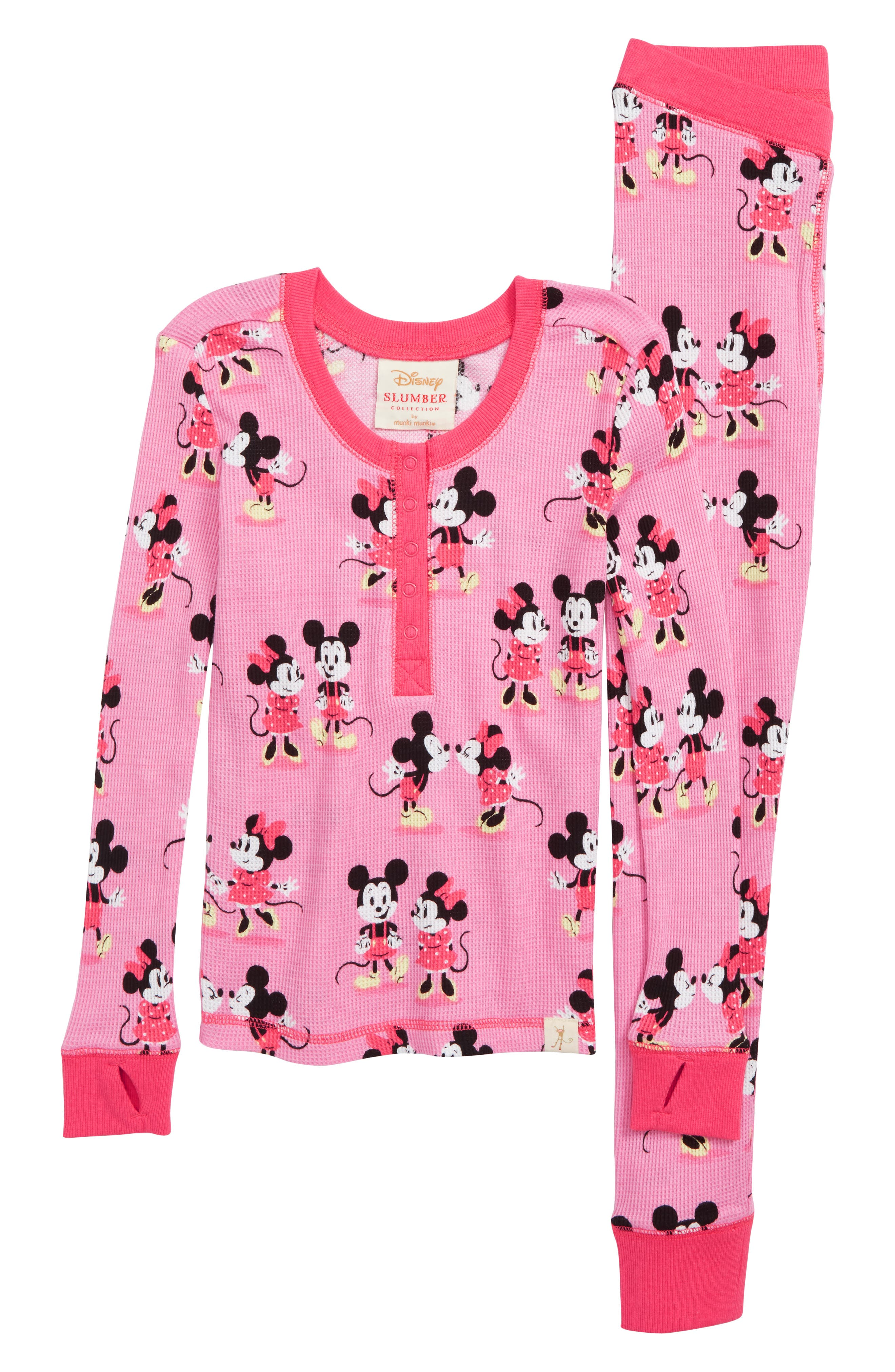 MUNKI MUNKI,                             Minnie Mickey Fitted Two-Piece Pajamas,                             Main thumbnail 1, color,                             650