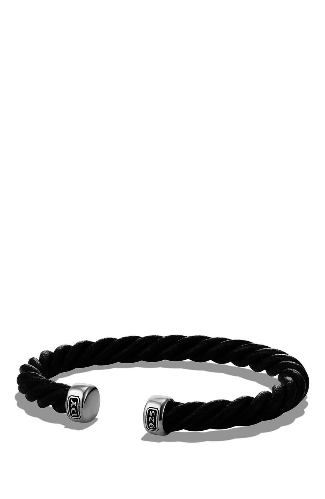 Leather Cuff Bracelet,                         Main,                         color, SILVER/ BLACK LEATHER