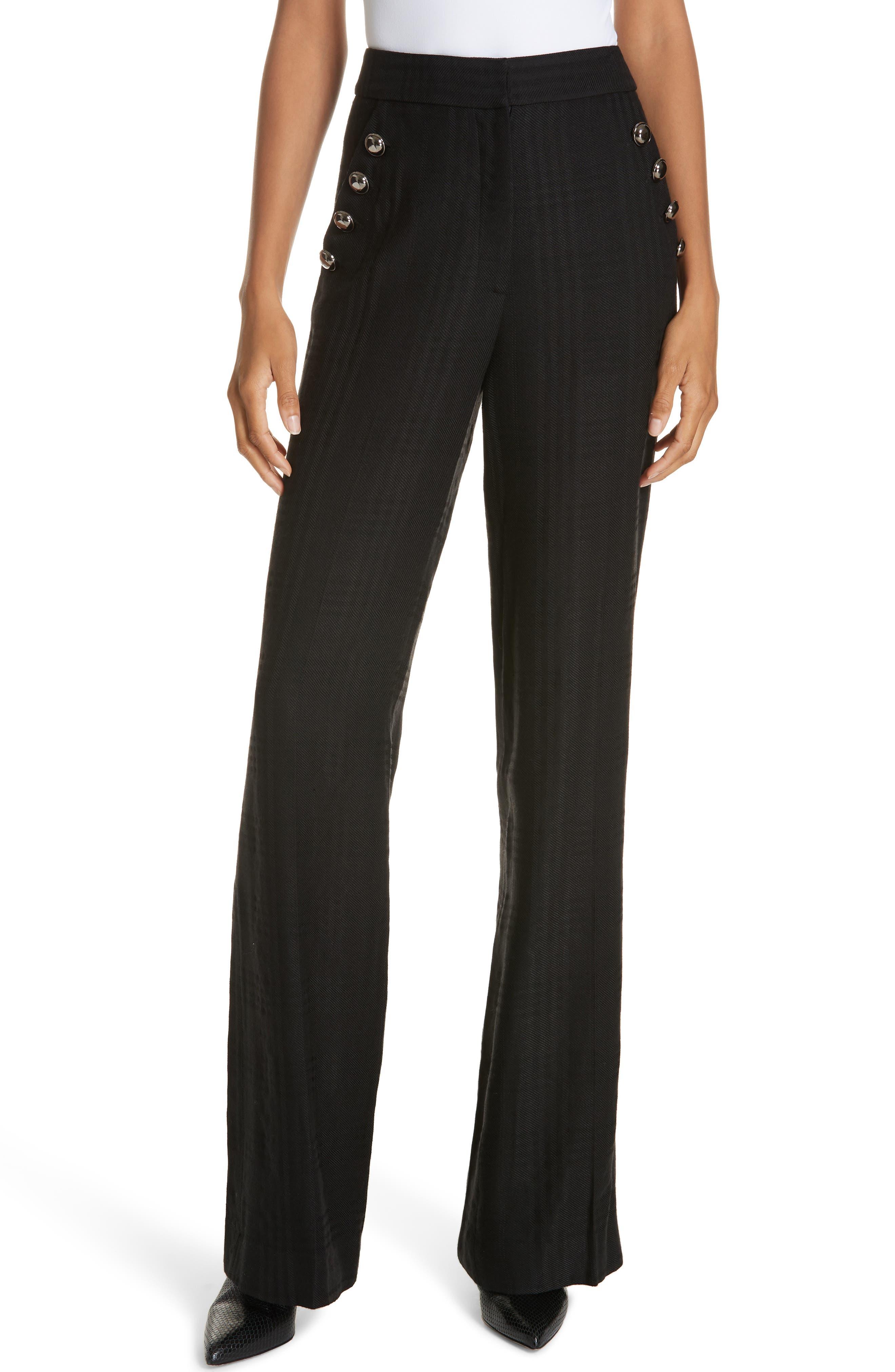 Tuli Check Button Detail Pants,                         Main,                         color, BLACK/ BLACK