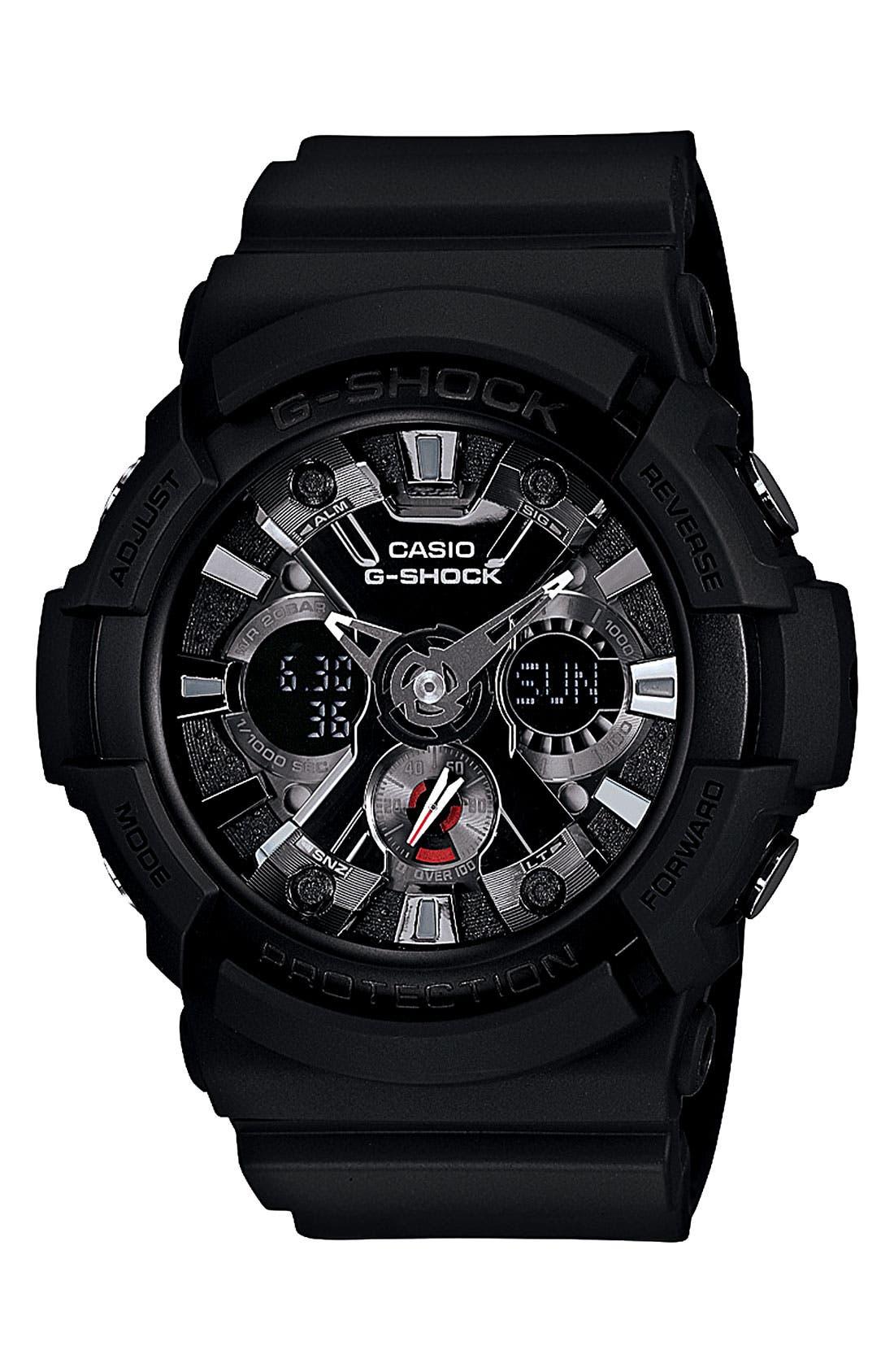 G-Shock X-Large Dual Movement Watch, 55mm,                             Main thumbnail 1, color,                             BLACK