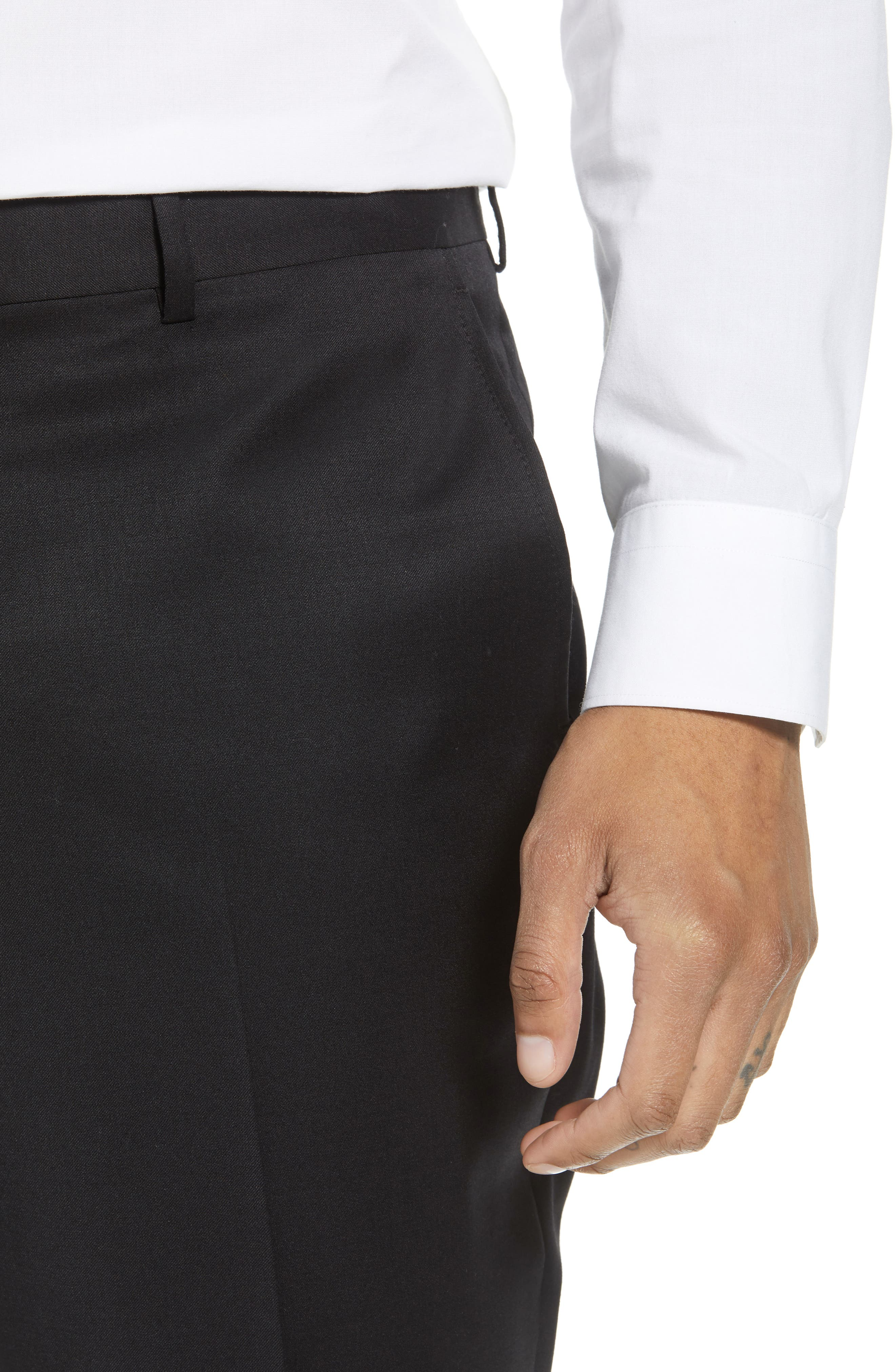 Flat Front Tech-Smart Extra Trim Trousers,                             Alternate thumbnail 4, color,                             001