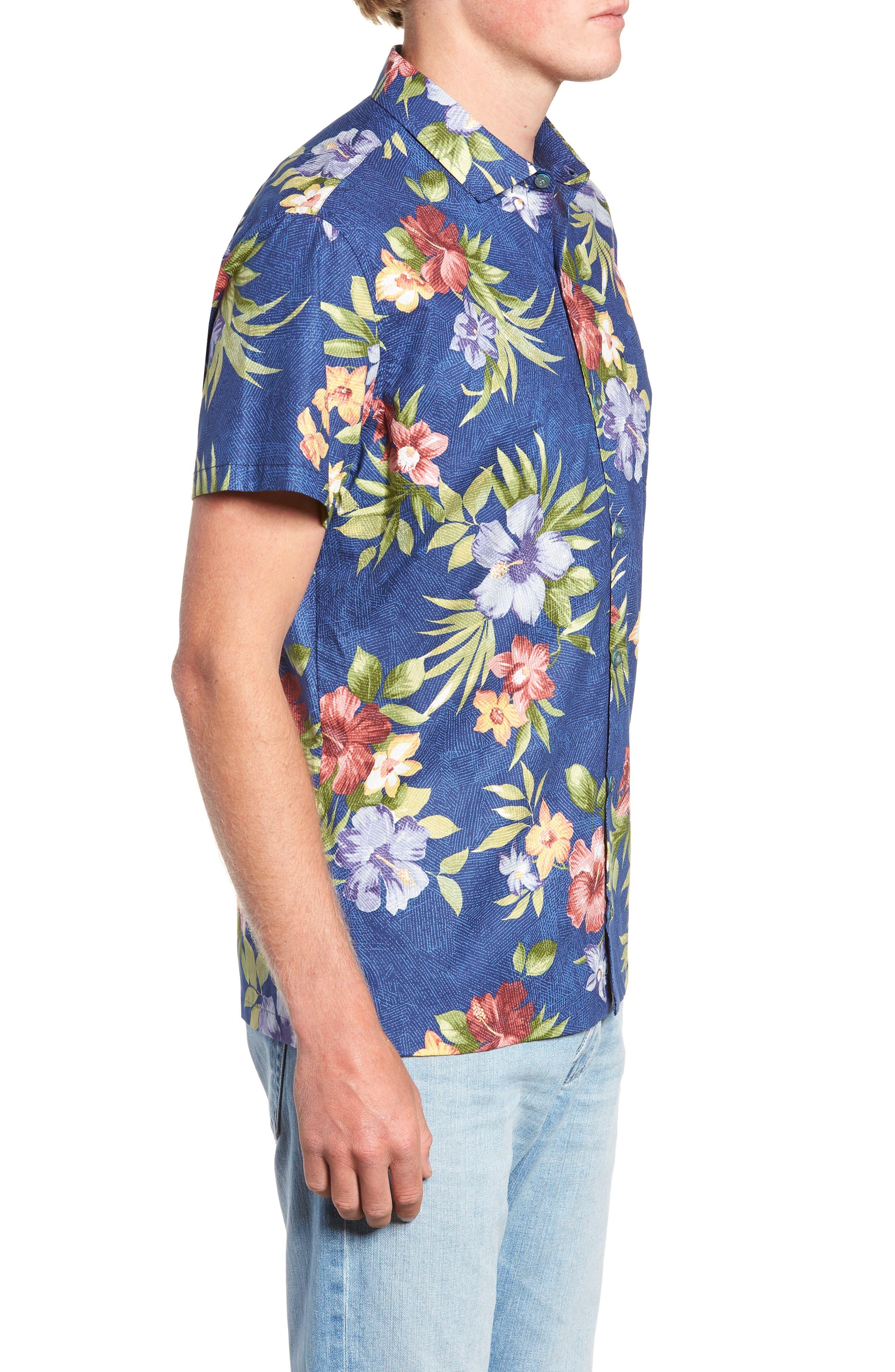 TORI RICHARD,                             Tropical Filter Trim Fit Camp Shirt,                             Alternate thumbnail 3, color,                             415