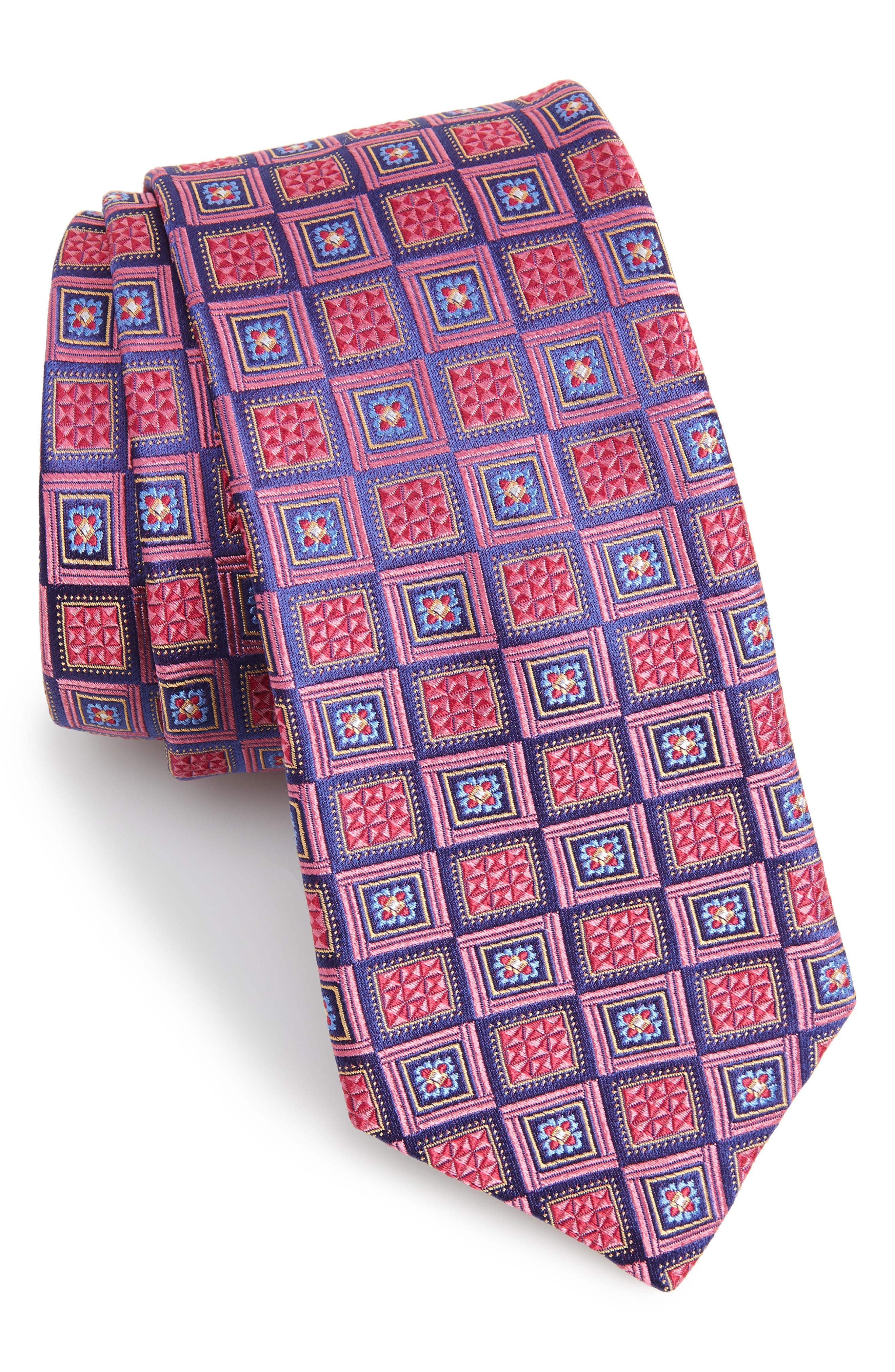 Medallion Silk Tie,                         Main,                         color, PINK