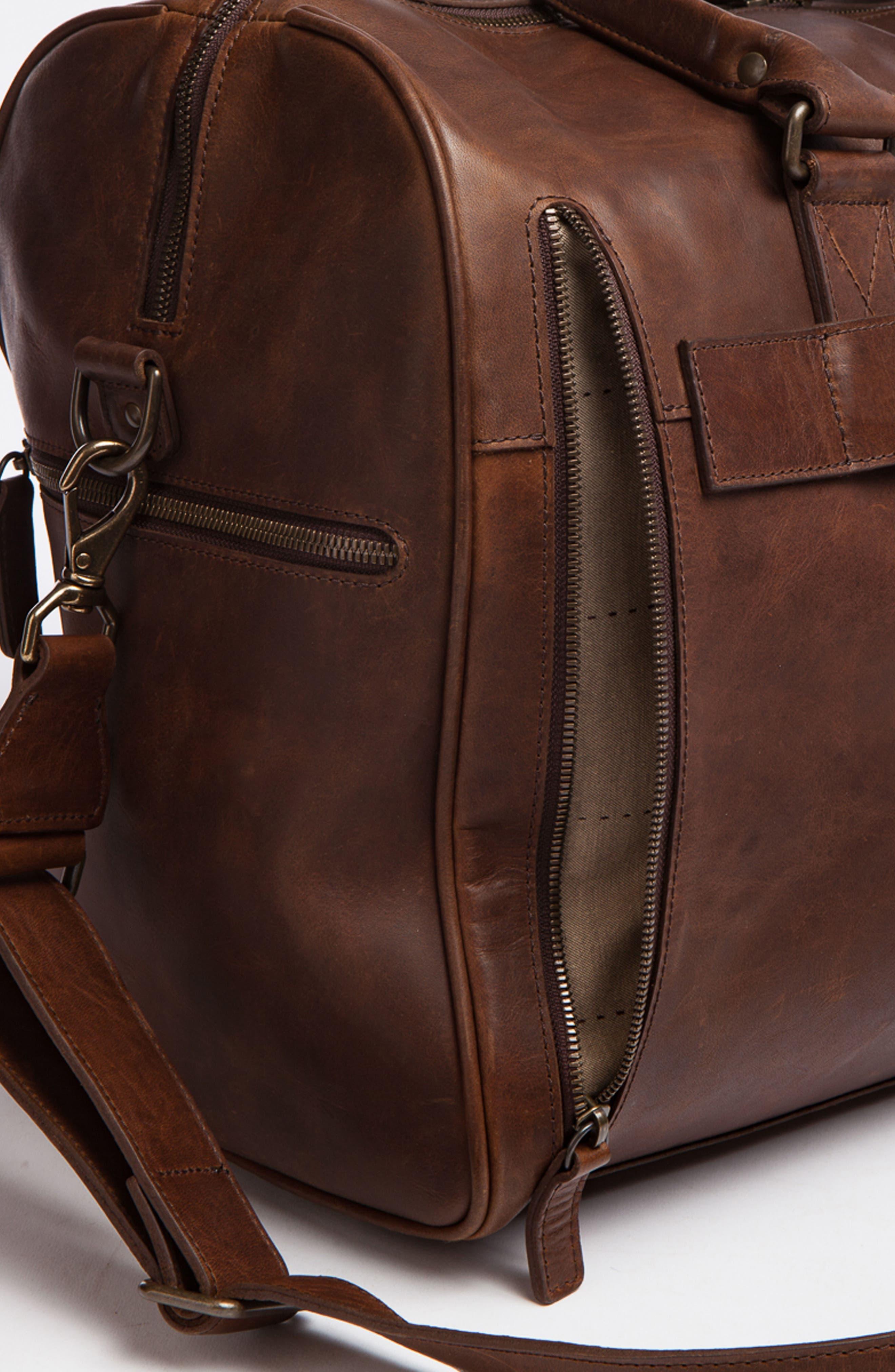 Booker Leather Duffel Bag,                             Alternate thumbnail 6, color,                             BALDWIN OAK