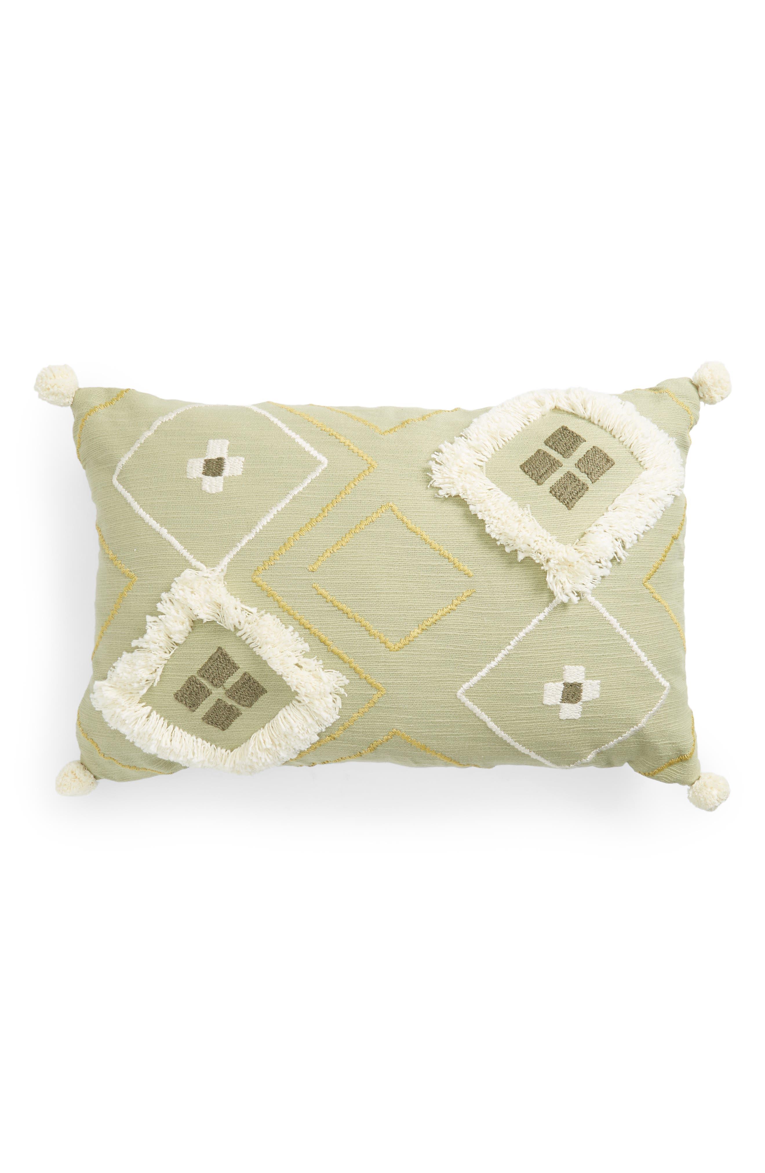Diamond Puff Cotton Accent Pillow,                             Main thumbnail 1, color,                             GREEN