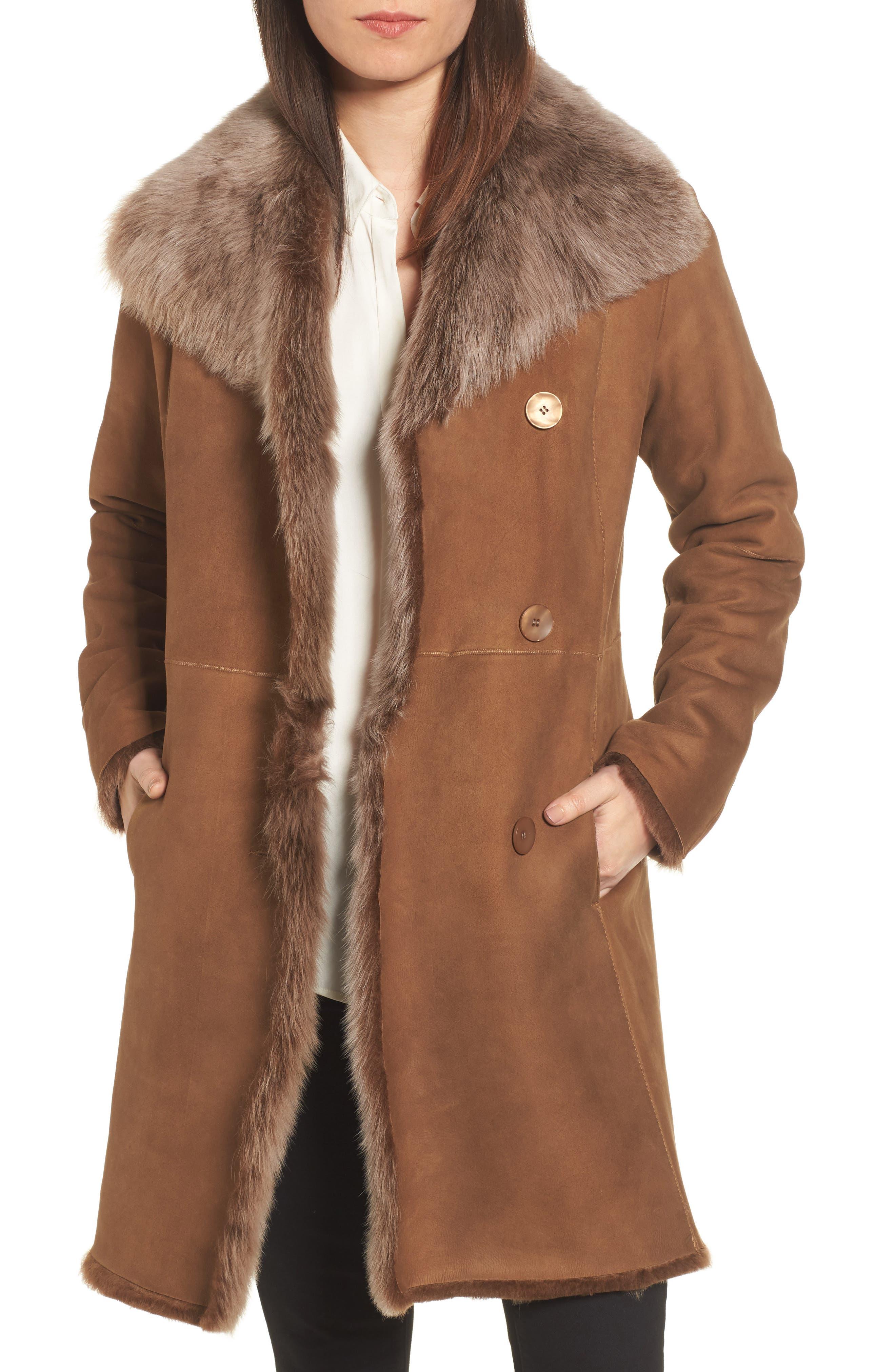 Genuine Toscana Shearling Coat,                             Main thumbnail 1, color,                             202